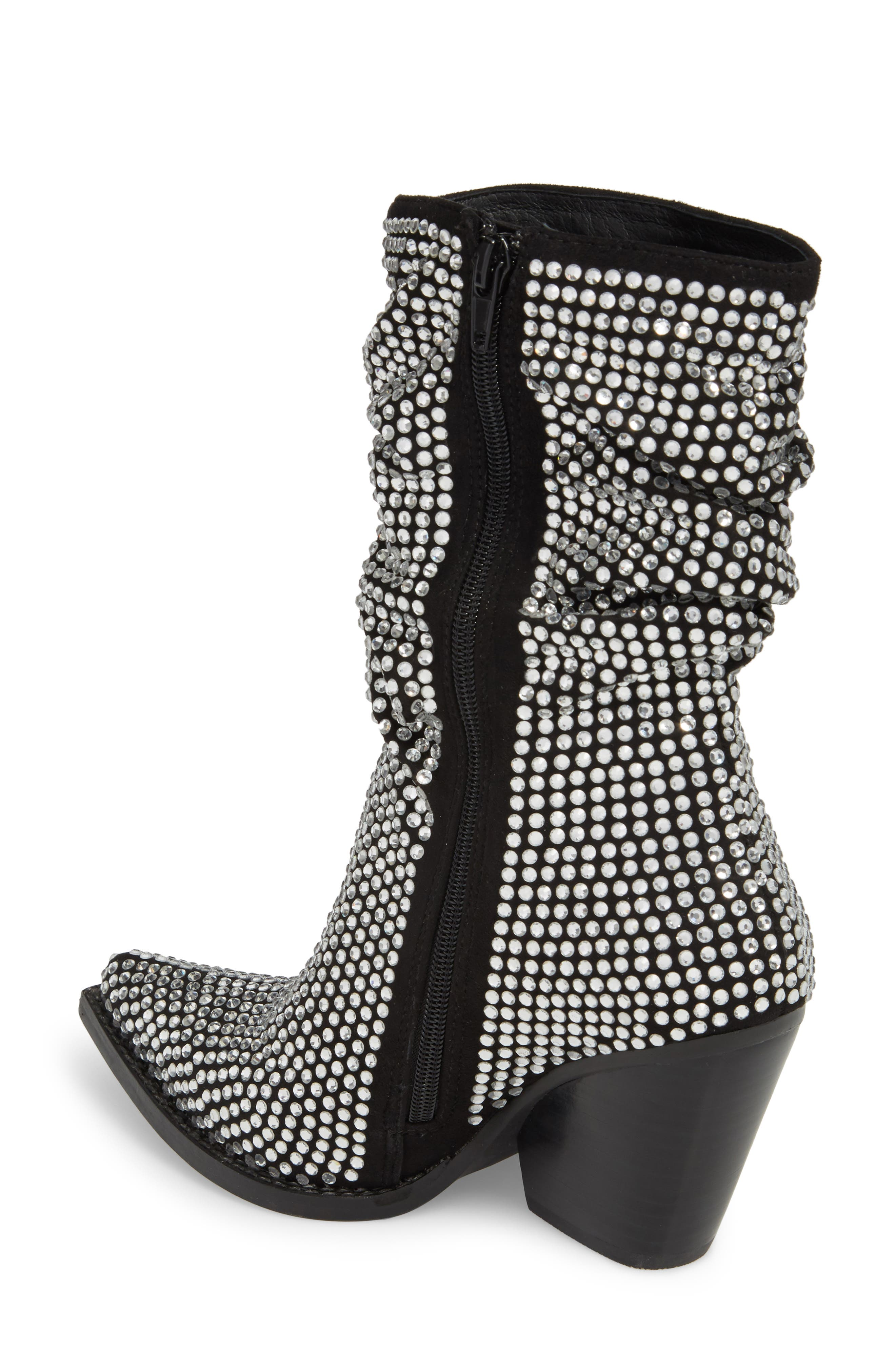 Controll Crystal Studded Slouch Boot,                             Alternate thumbnail 2, color,                             BLACK SUEDE SILVER