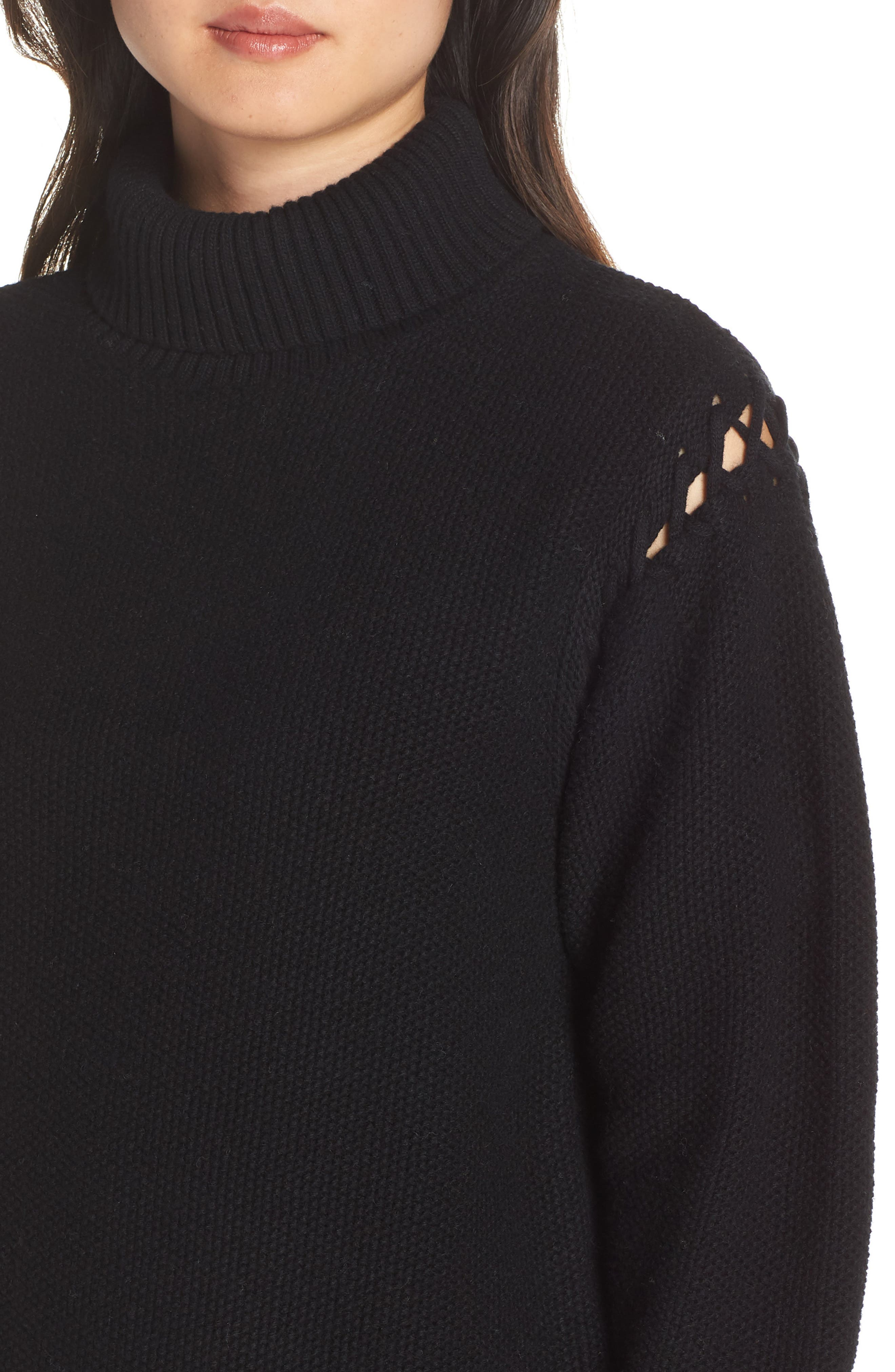 Gisele Turtleneck Sweater,                             Alternate thumbnail 4, color,                             BLACK