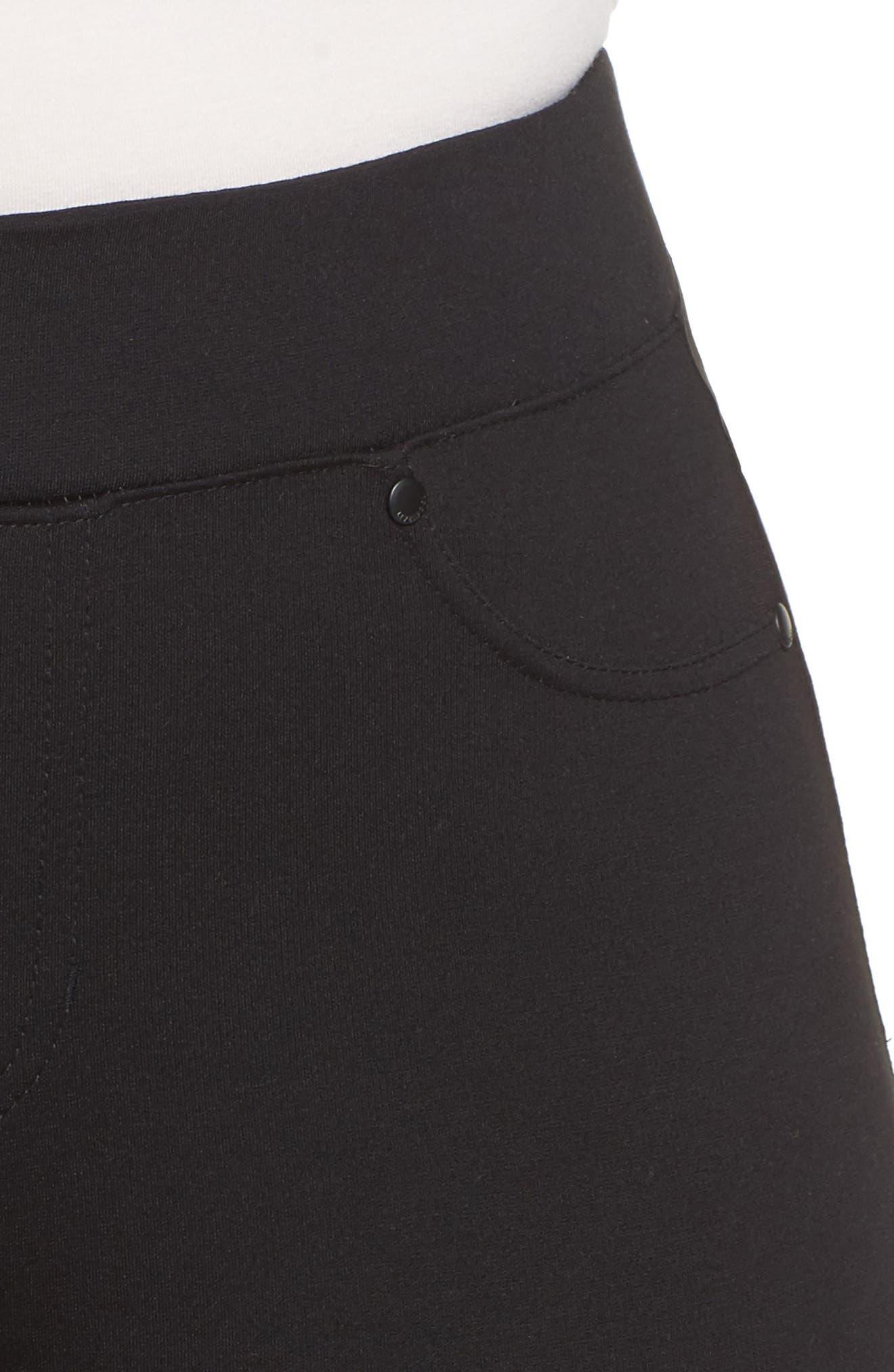 Ponte Knit Leggings,                             Alternate thumbnail 4, color,                             BLACK