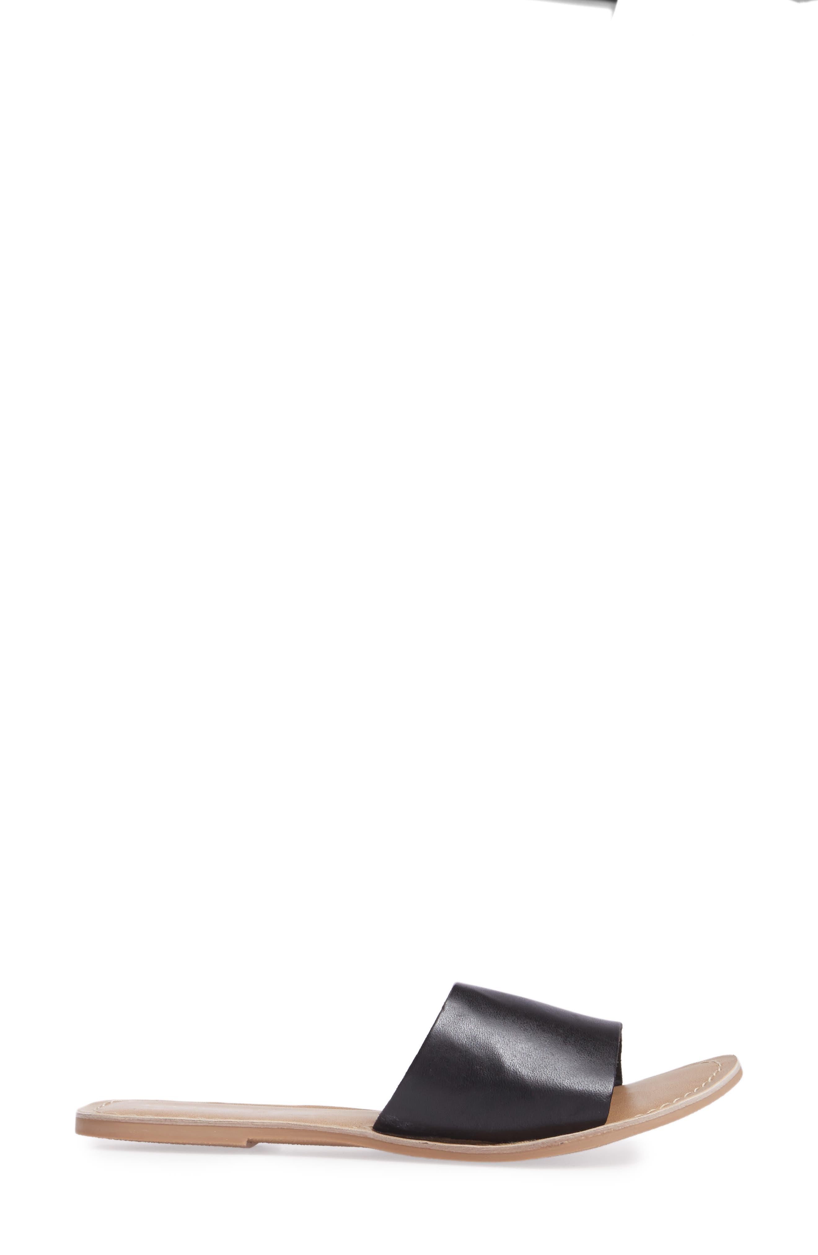 Cabana Slide Sandal,                             Alternate thumbnail 3, color,                             BLACK LEATHER