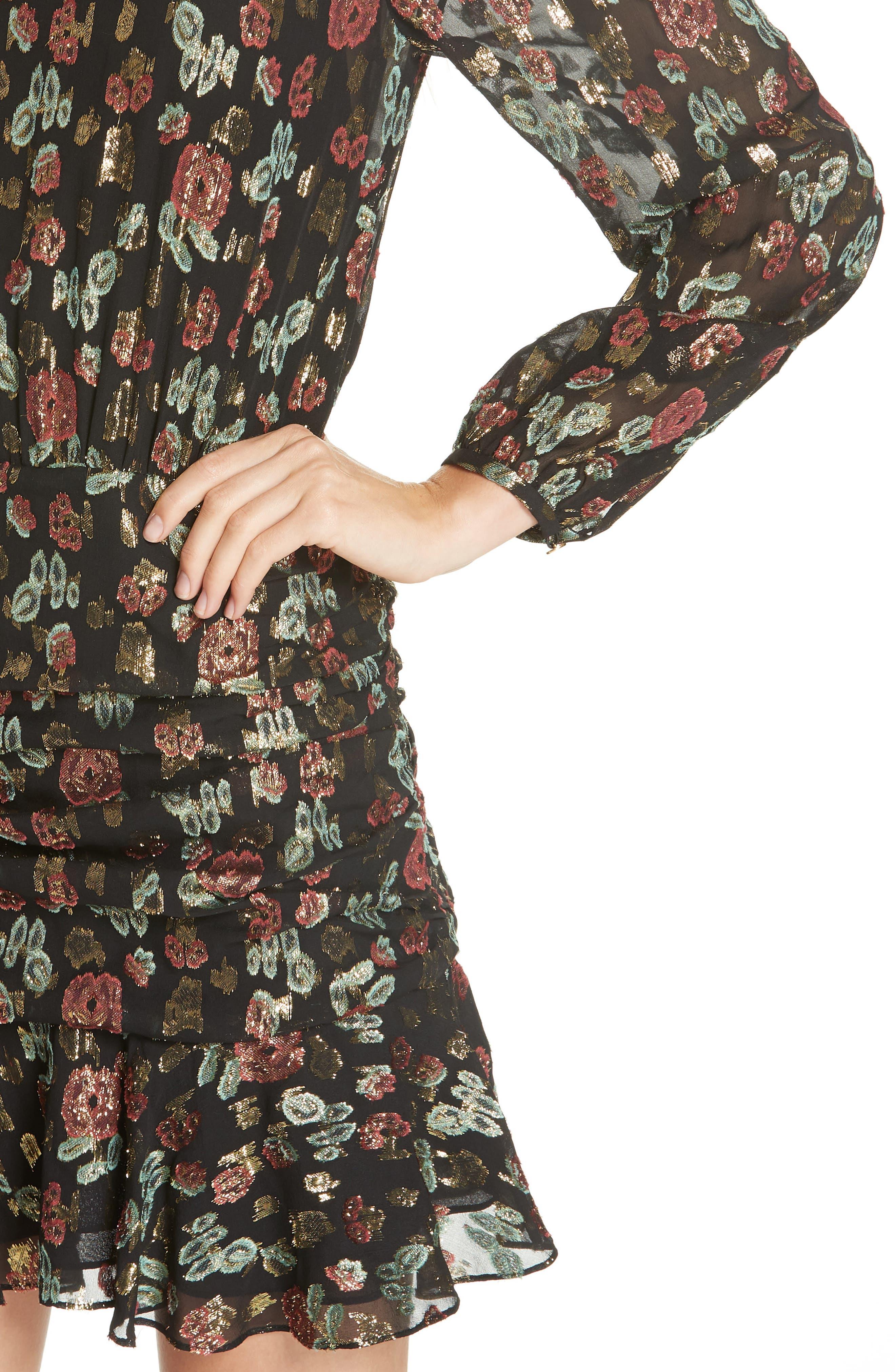 Robin Silk Blend Jacquard Minidress,                             Alternate thumbnail 4, color,                             001