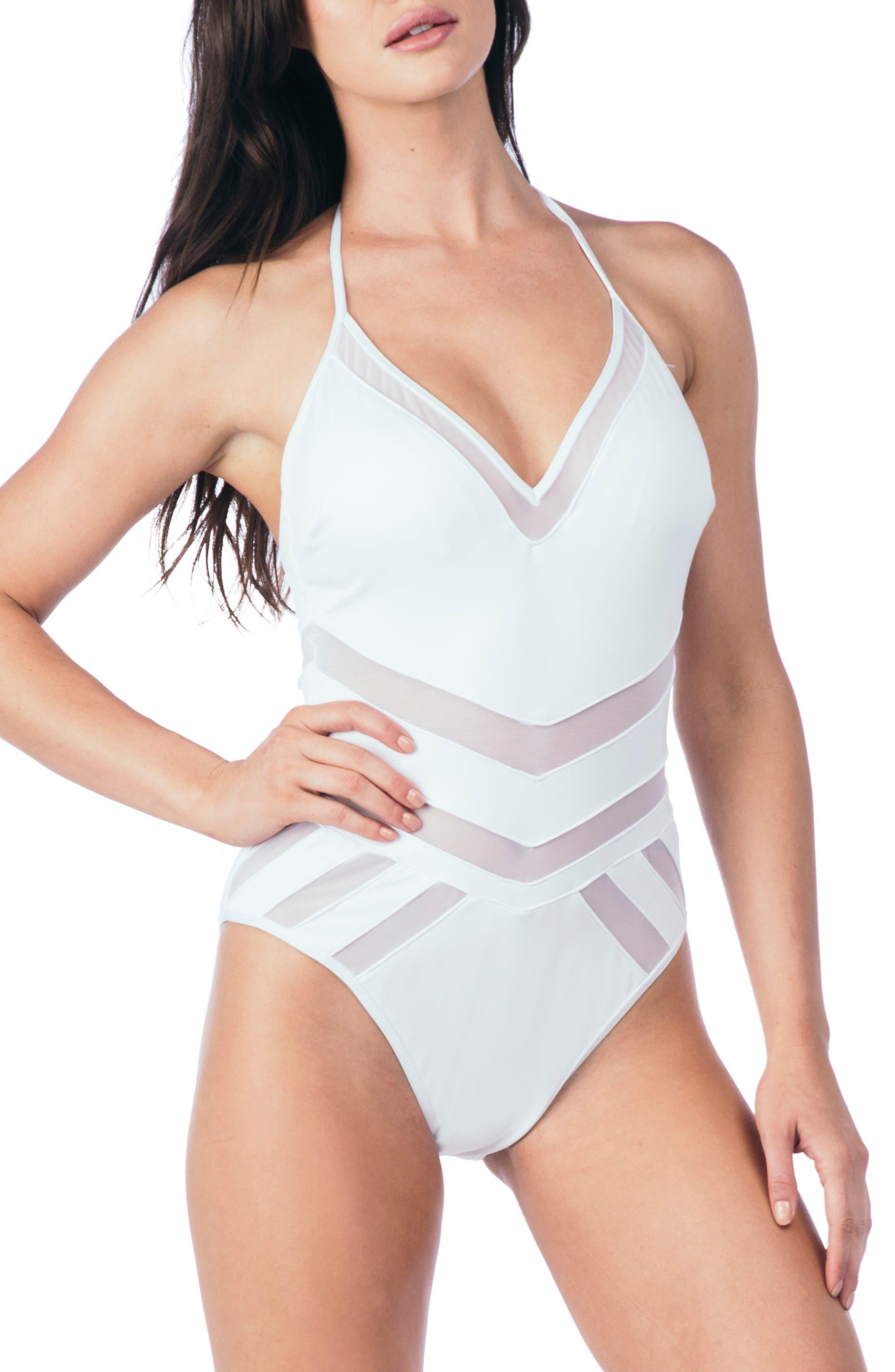 Mesh One-Piece Swimsuit,                             Main thumbnail 1, color,                             WHITE