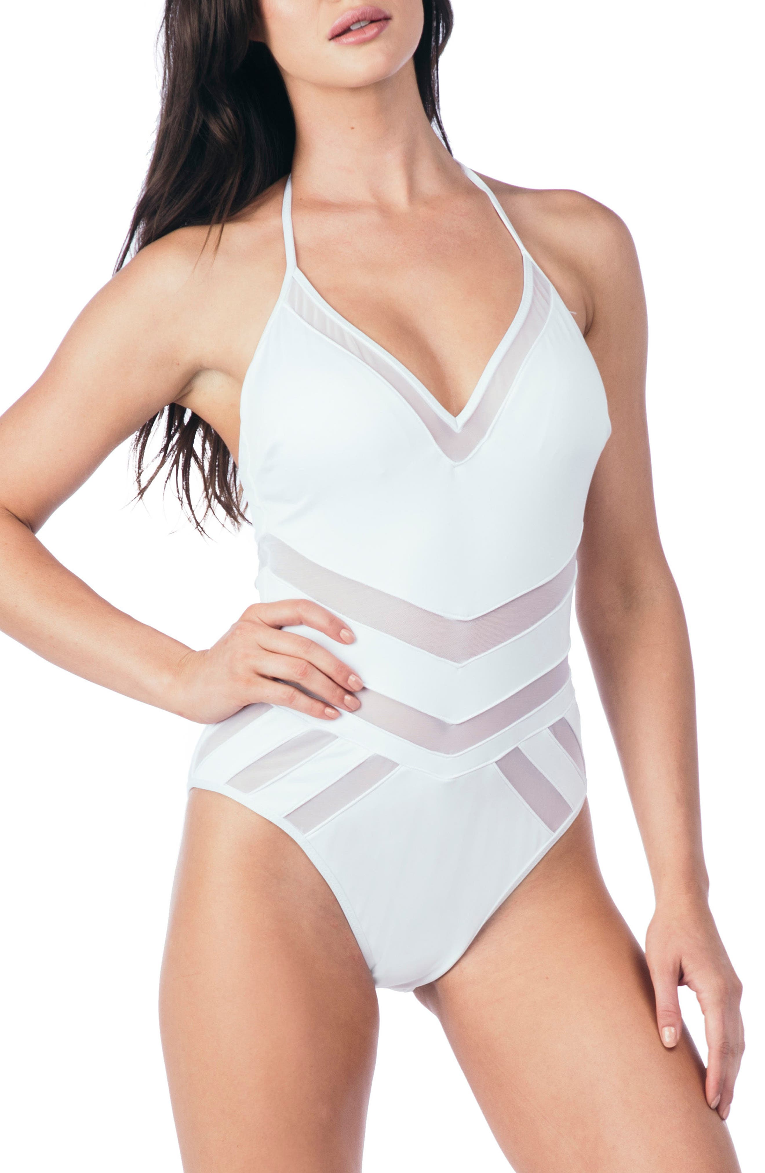 Mesh One-Piece Swimsuit,                         Main,                         color, WHITE