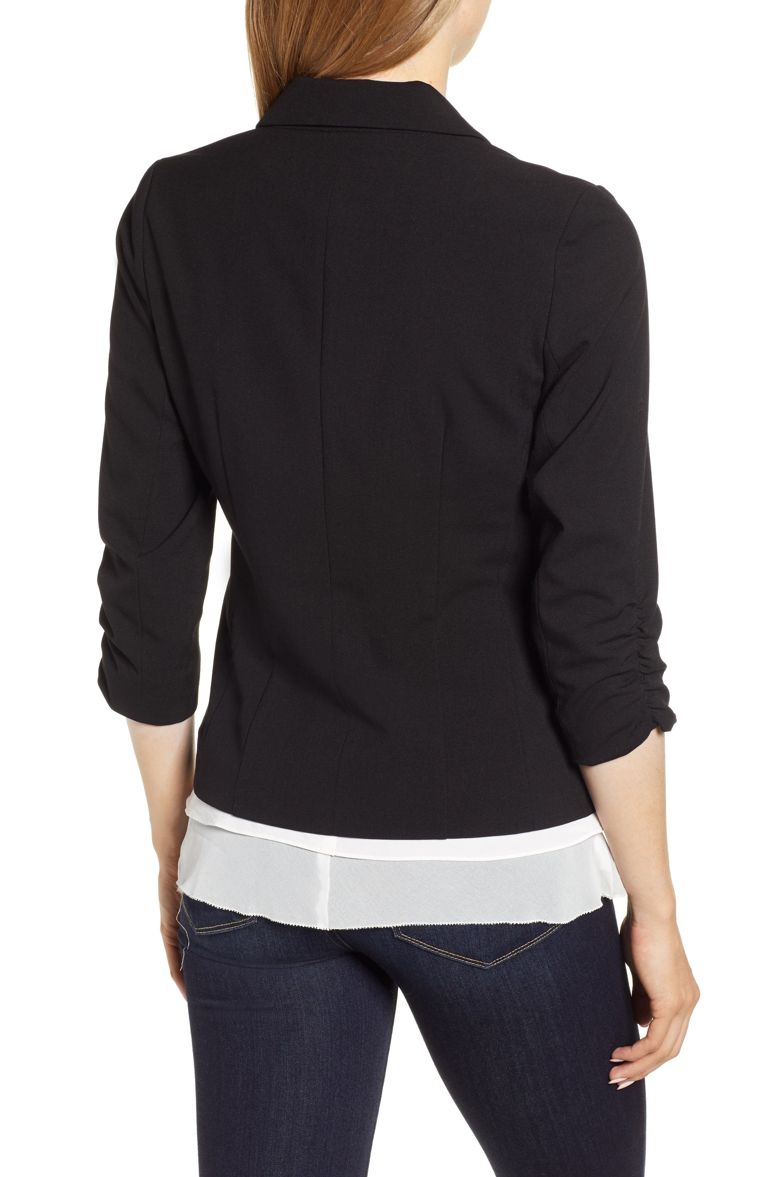 Ruched Sleeve Blazer,                             Alternate thumbnail 2, color,                             RICH BLACK