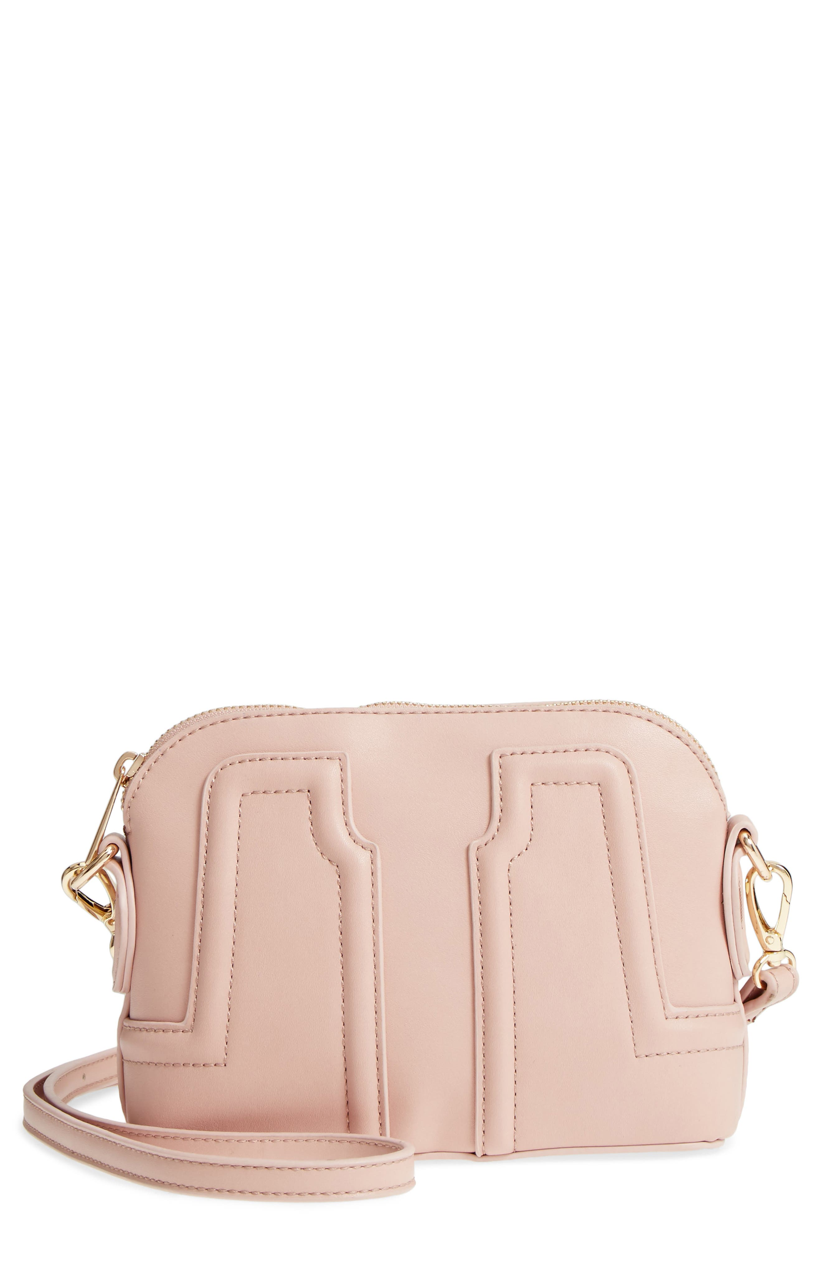 Structured Faux Leather Dome Crossbody,                             Main thumbnail 3, color,