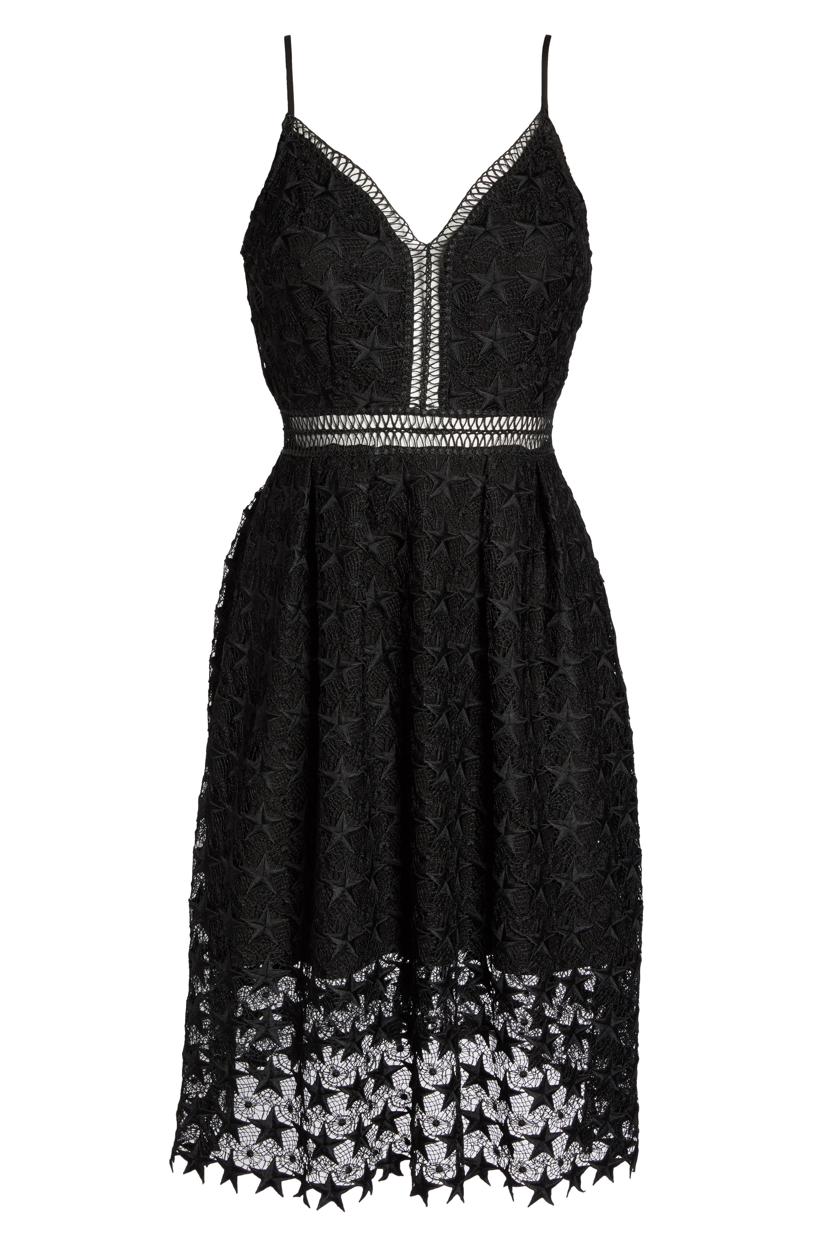 Star Lace Fit & Flare Dress,                             Alternate thumbnail 6, color,                             001