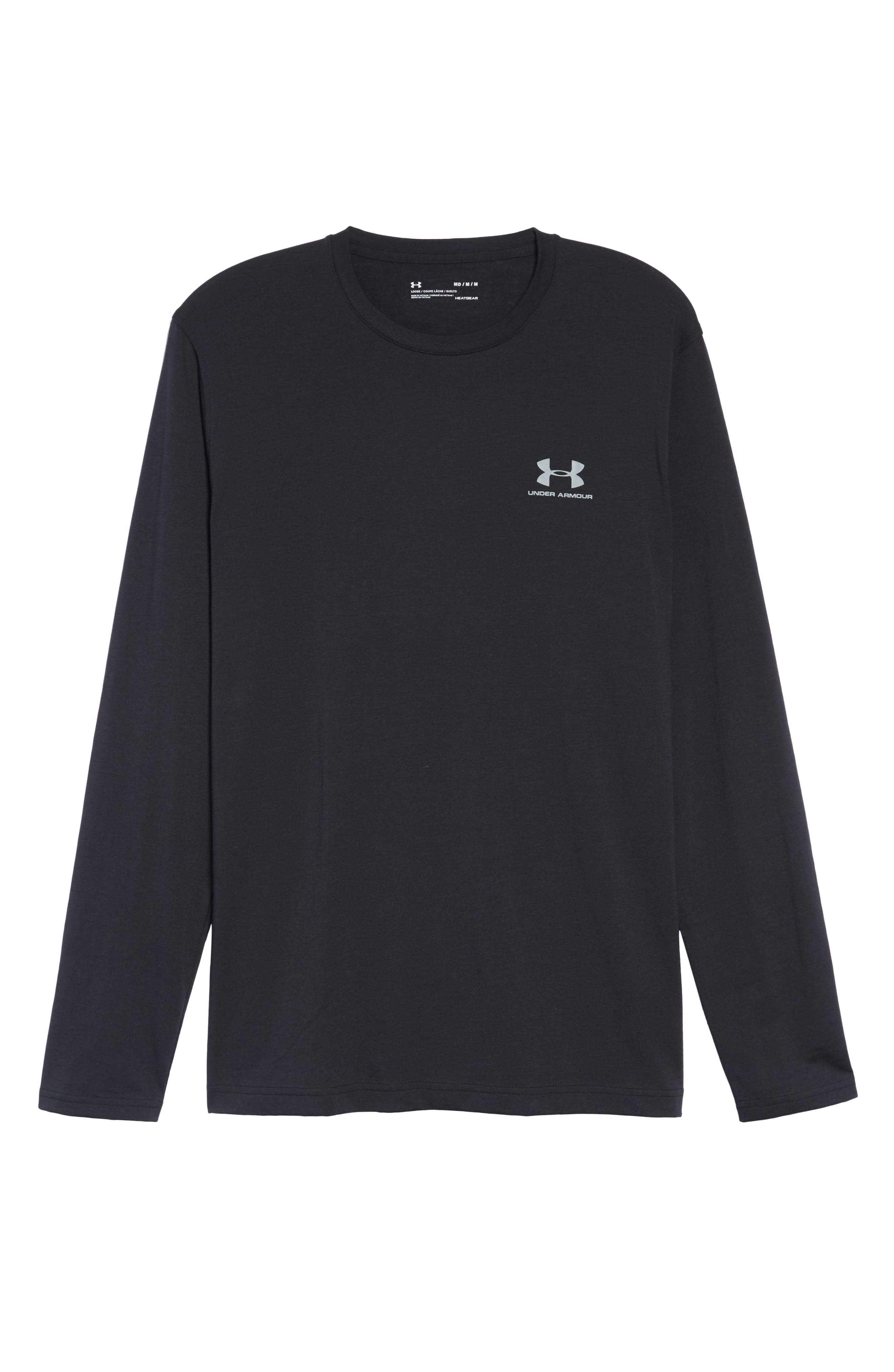 HeatGear<sup>®</sup> Long Sleeve Performance T-Shirt,                             Alternate thumbnail 6, color,                             BLACK/ STEEL