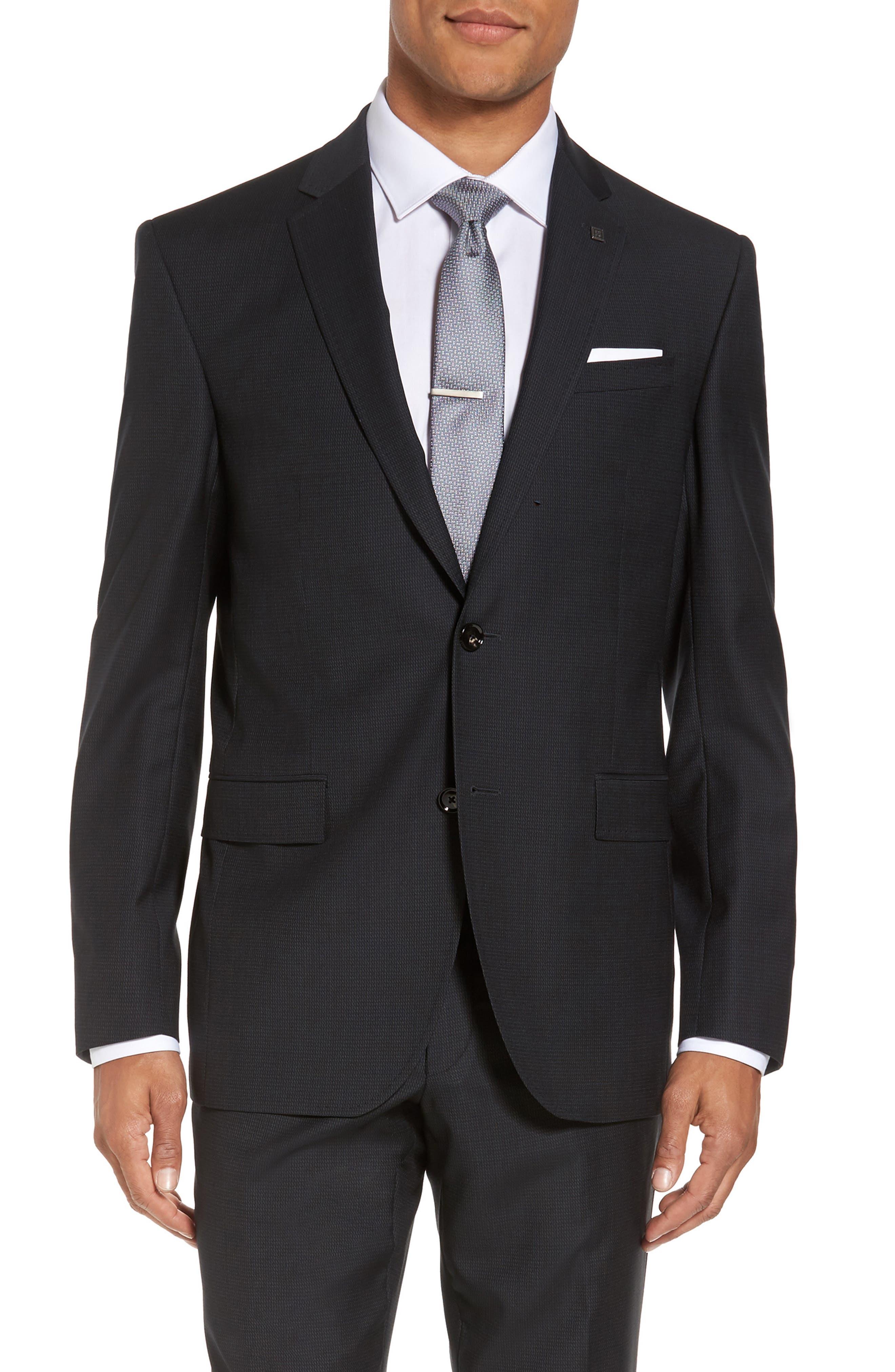Jay Trim Fit Solid Wool Suit,                             Alternate thumbnail 6, color,                             001