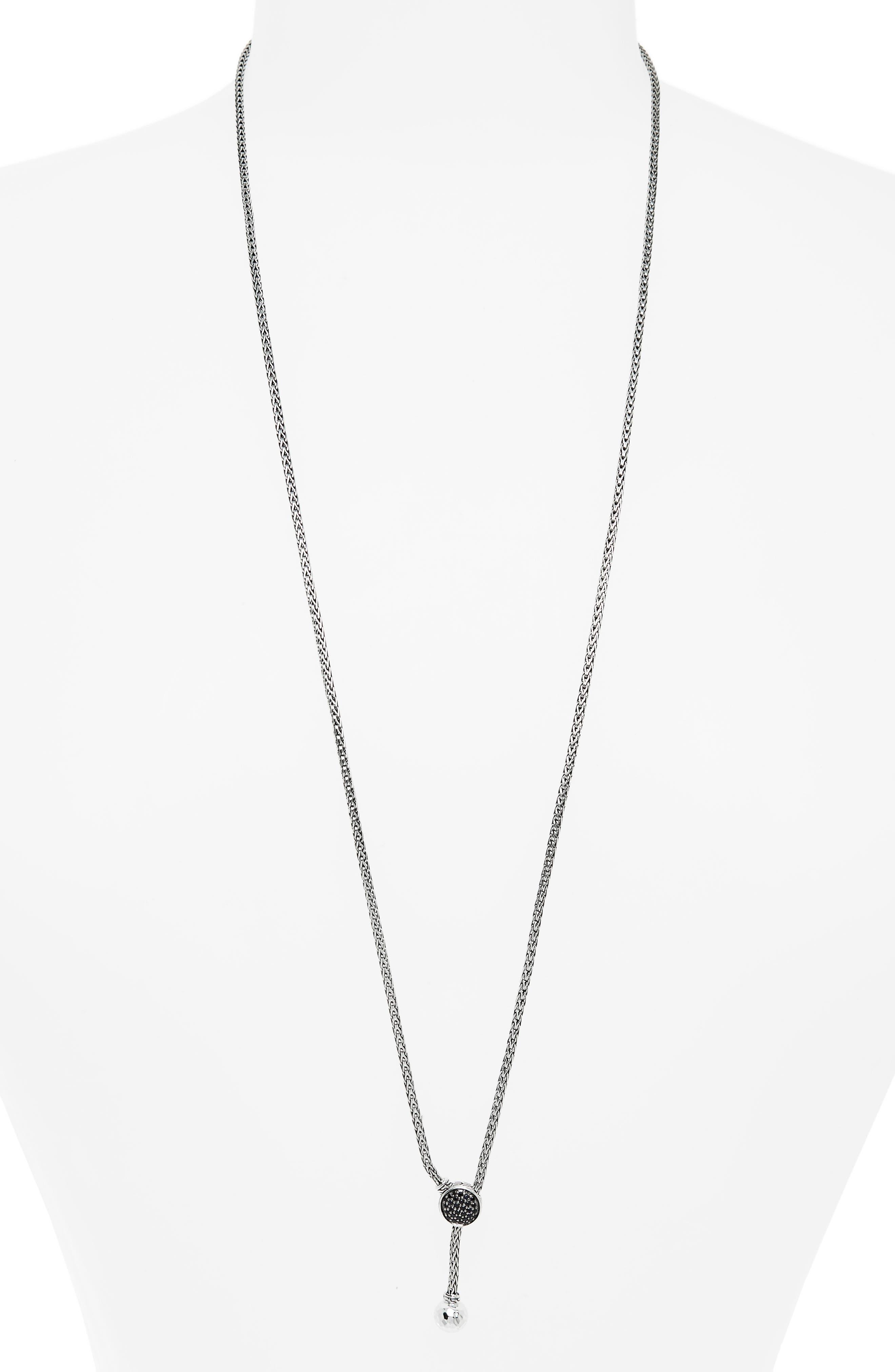 Classic Chain Black Sapphire Pavé Lariat Necklace,                         Main,                         color, SILVER/ BLACK SAPPHIRE/ BLACK