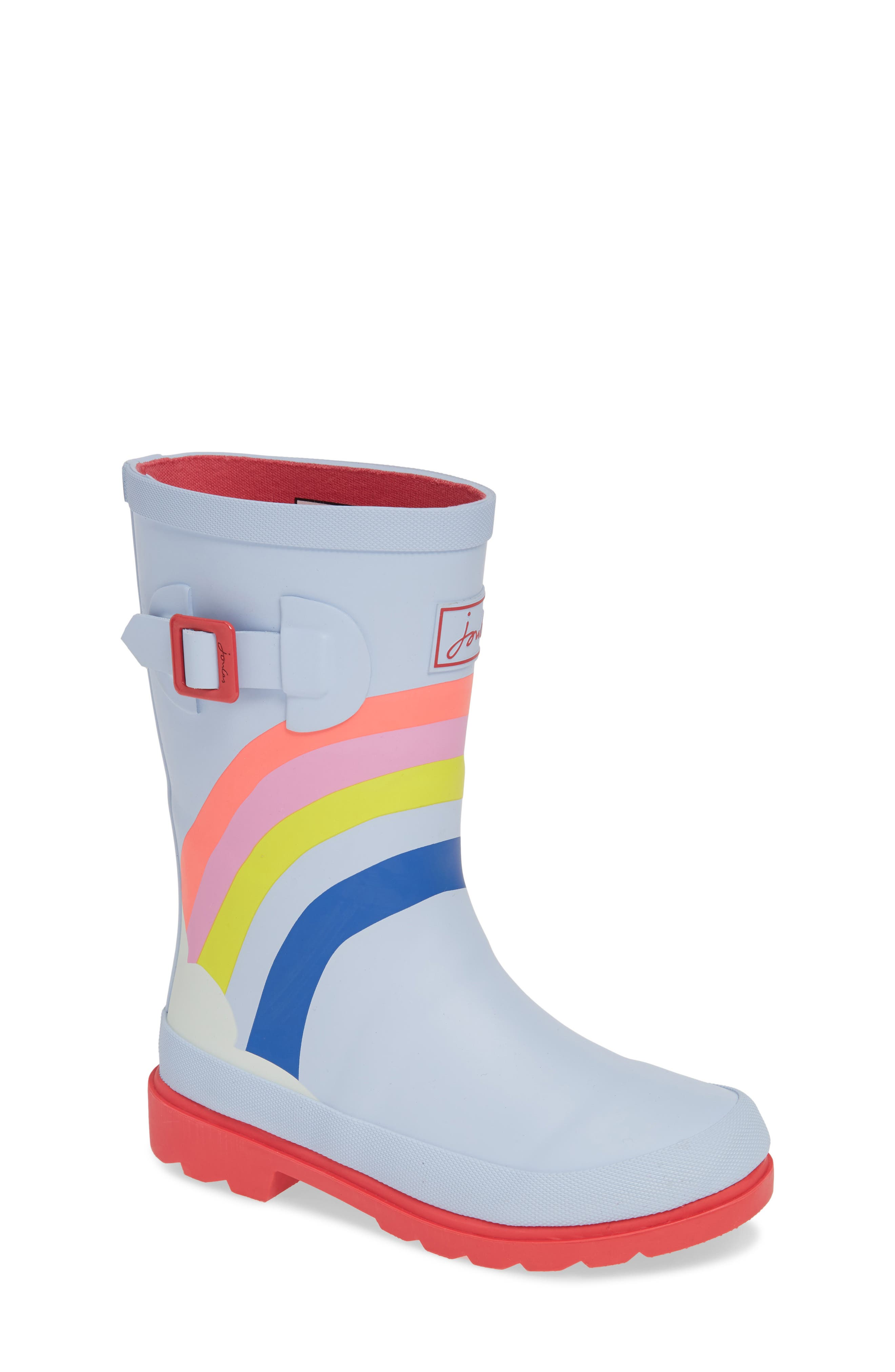 Mid Height Print Welly Waterproof Rain Boot, Main, color, BLUE RAINBOW