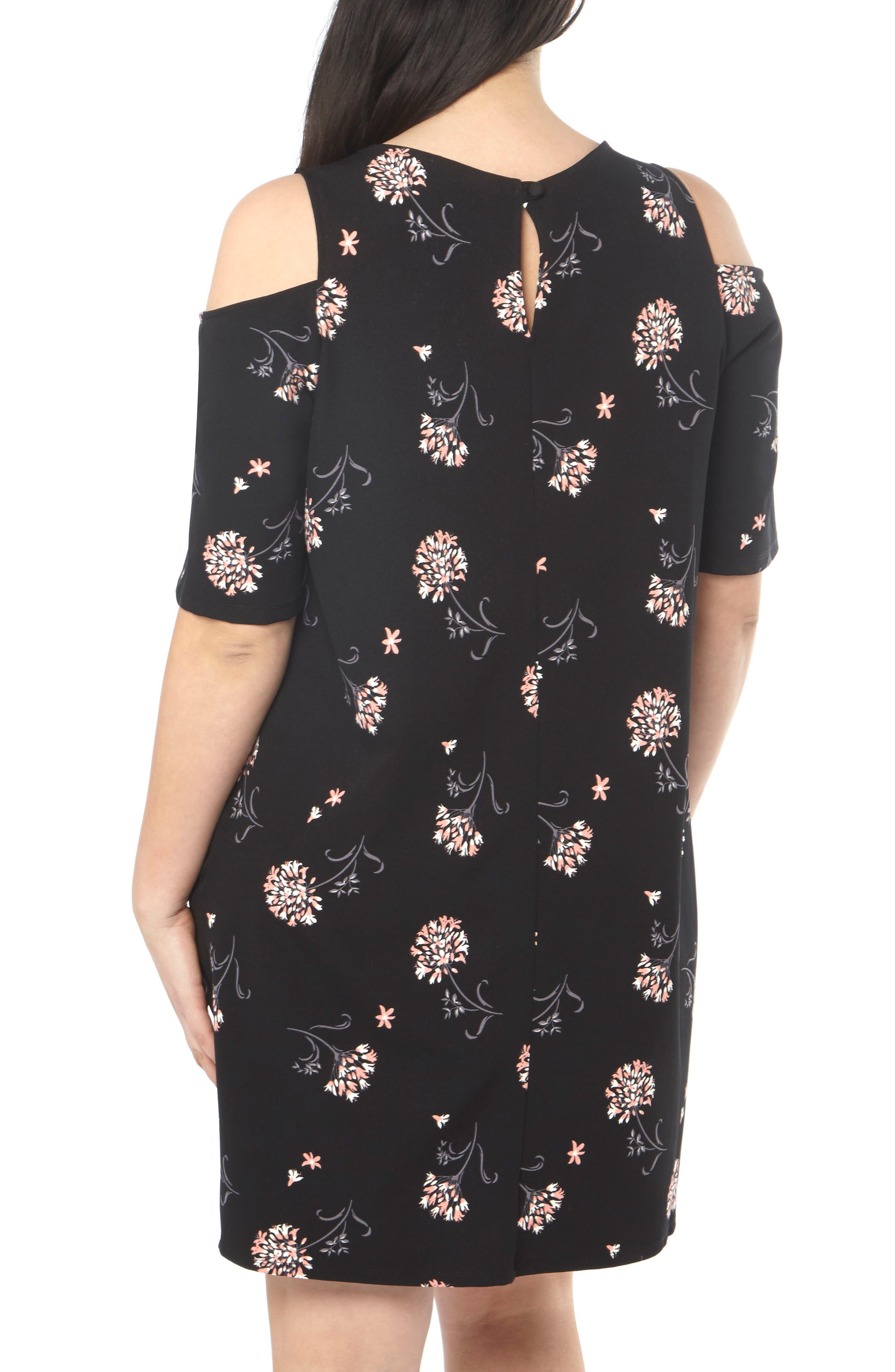 Floral Cold Shoulder Shift Dress,                             Alternate thumbnail 2, color,                             001