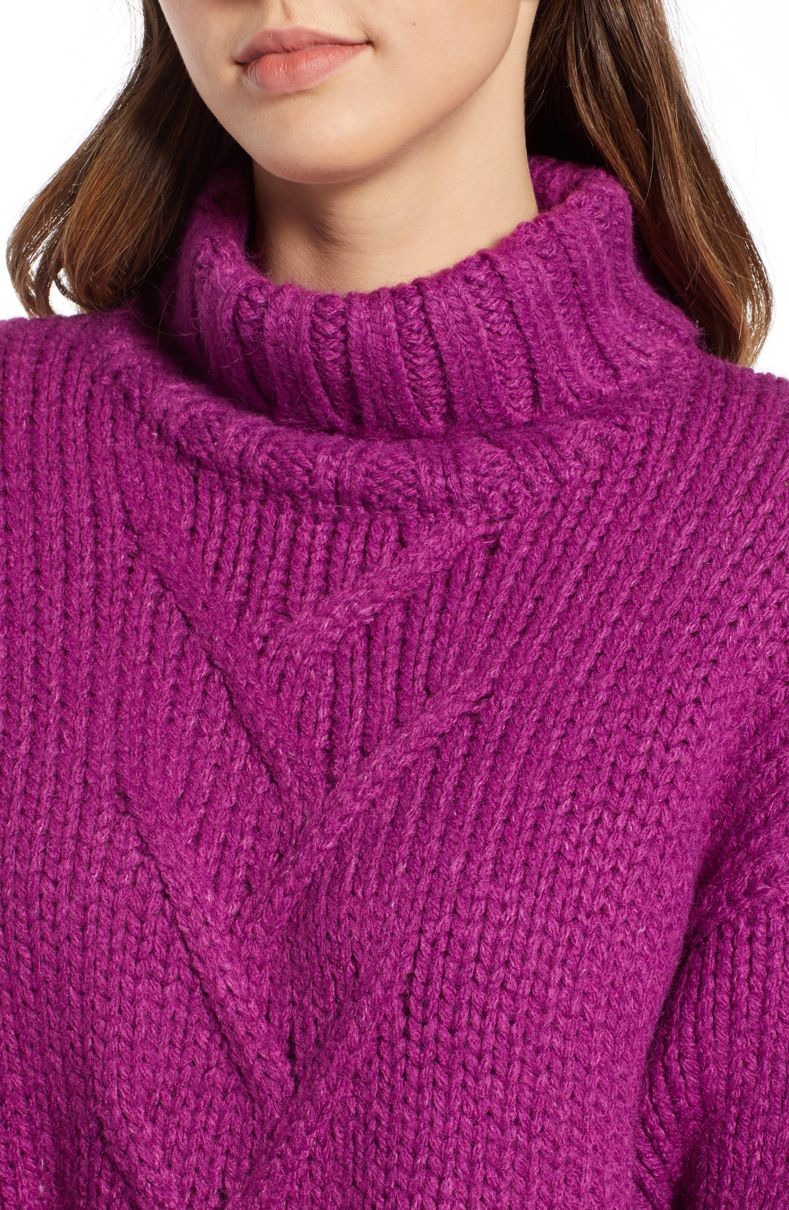 Kira Turtleneck Sweater,                             Alternate thumbnail 4, color,                             HOLLYHOCK