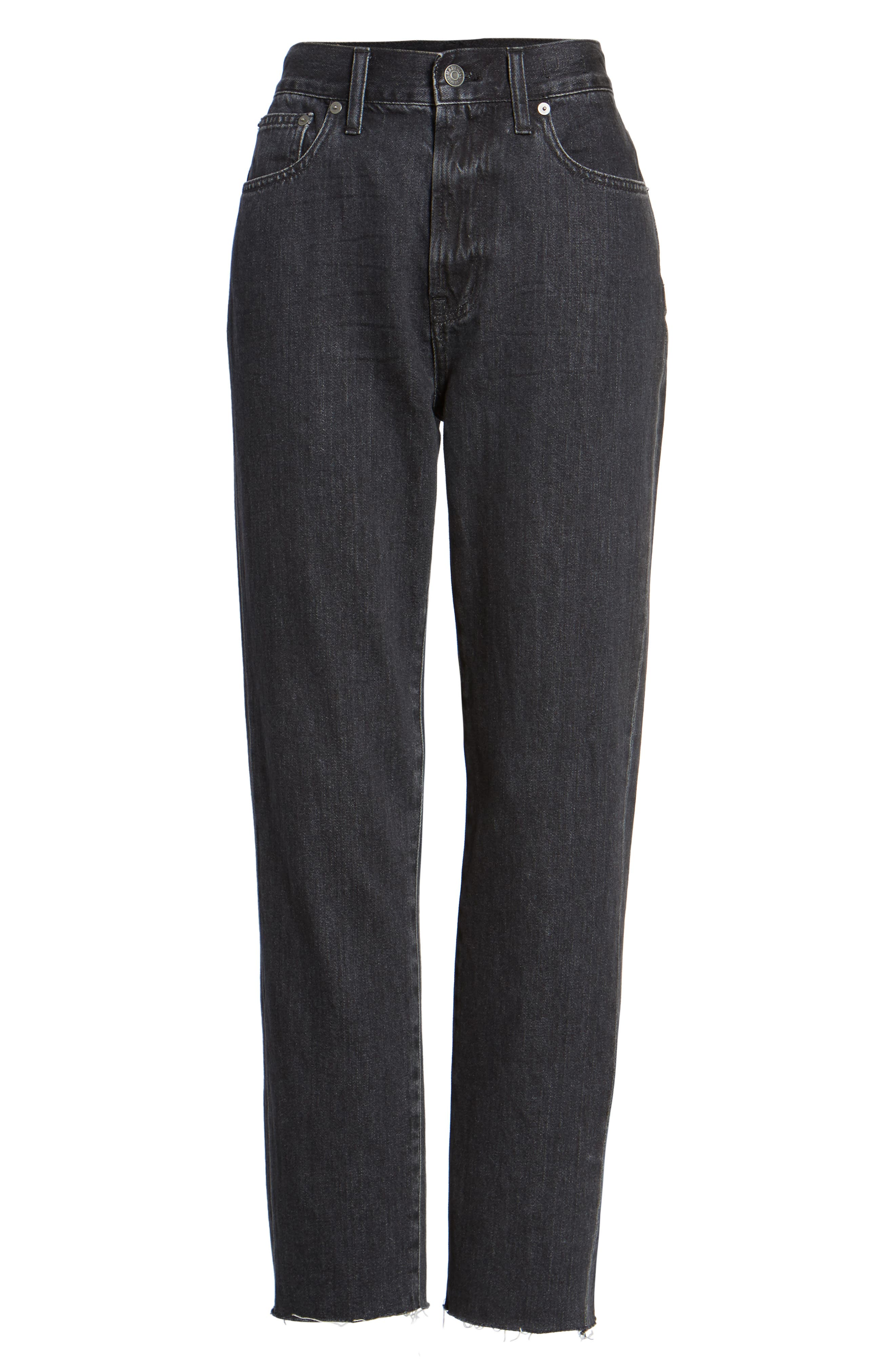 The Perfect Summer 11-Inch High Waist Ankle Straight Leg Jeans,                             Alternate thumbnail 6, color,                             009