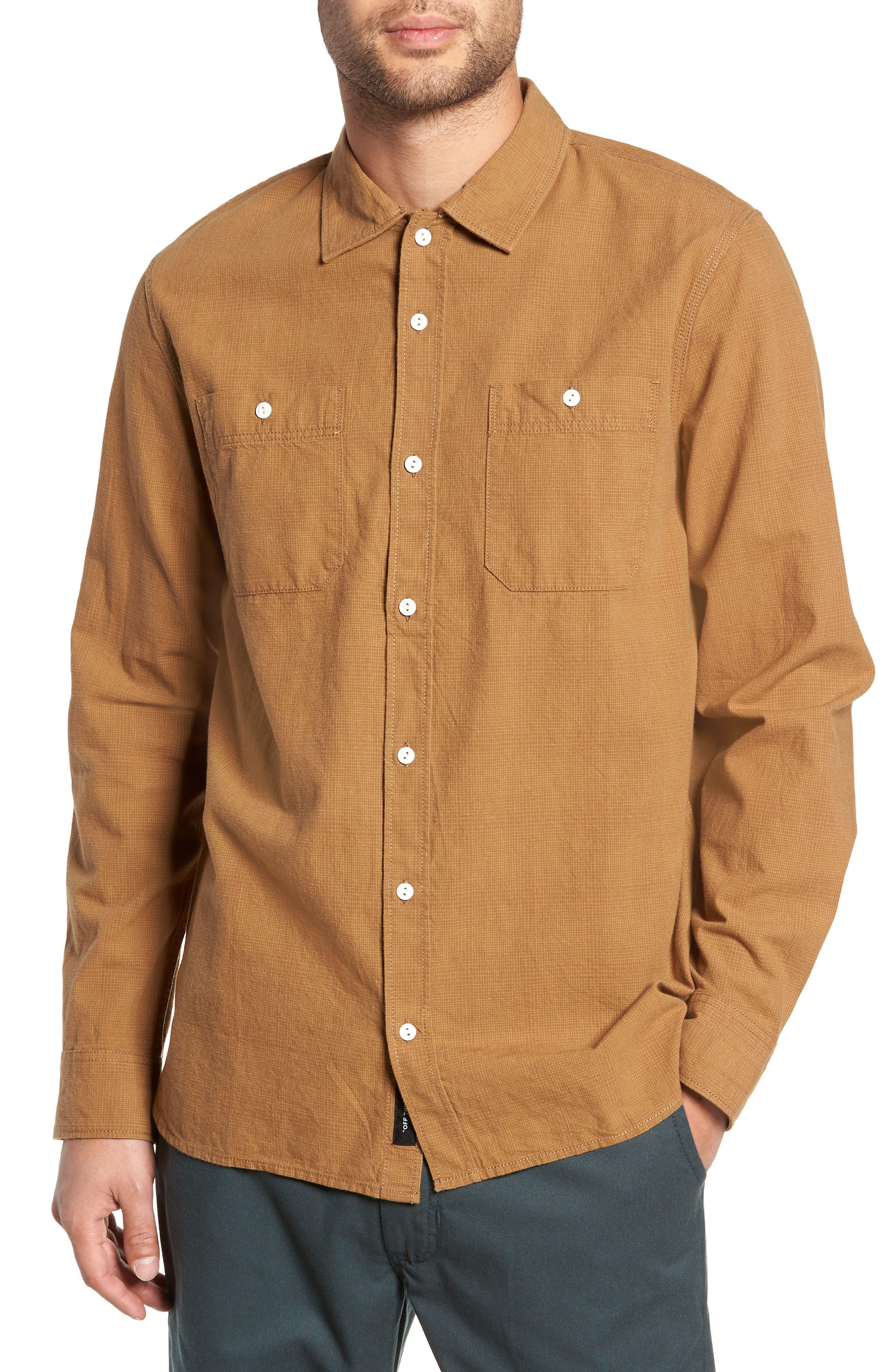 Vans Durhamd Ombre Plaid Sport Shirt, Brown