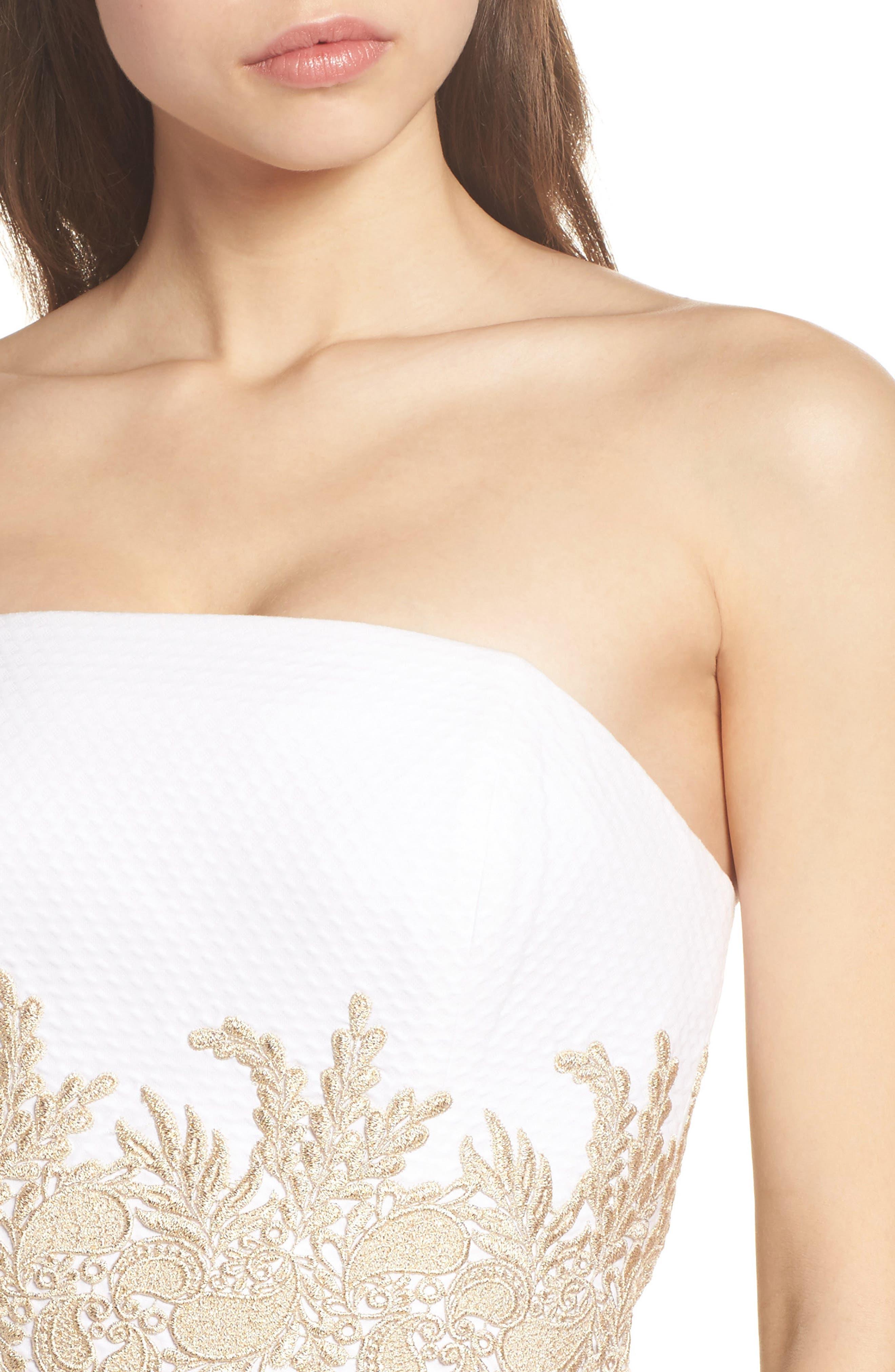 Kade Strapless Dress,                             Alternate thumbnail 4, color,                             RESORT WHITE