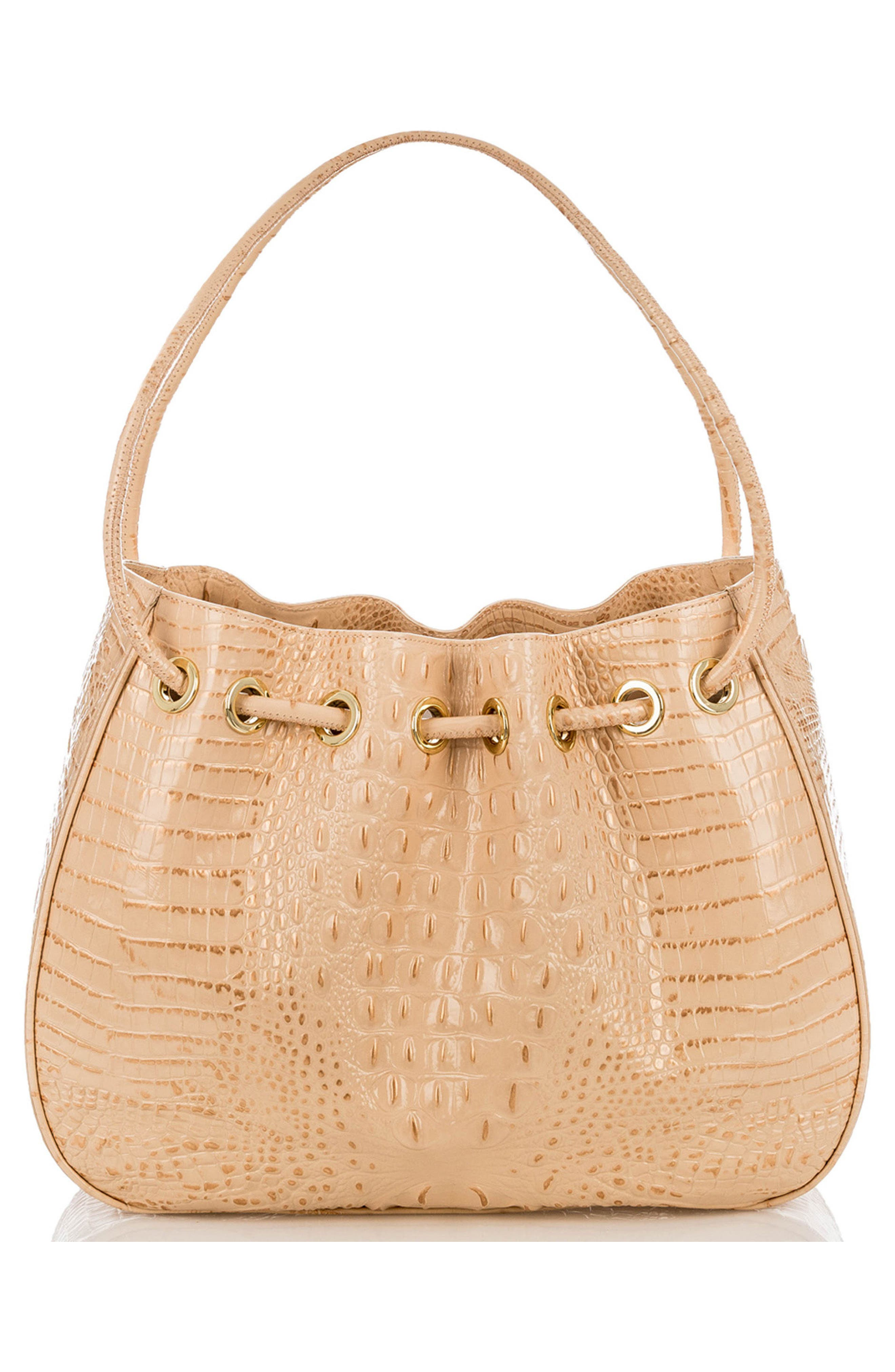 Amy Embossed Leather Drawstring Bucket Bag,                             Alternate thumbnail 4, color,