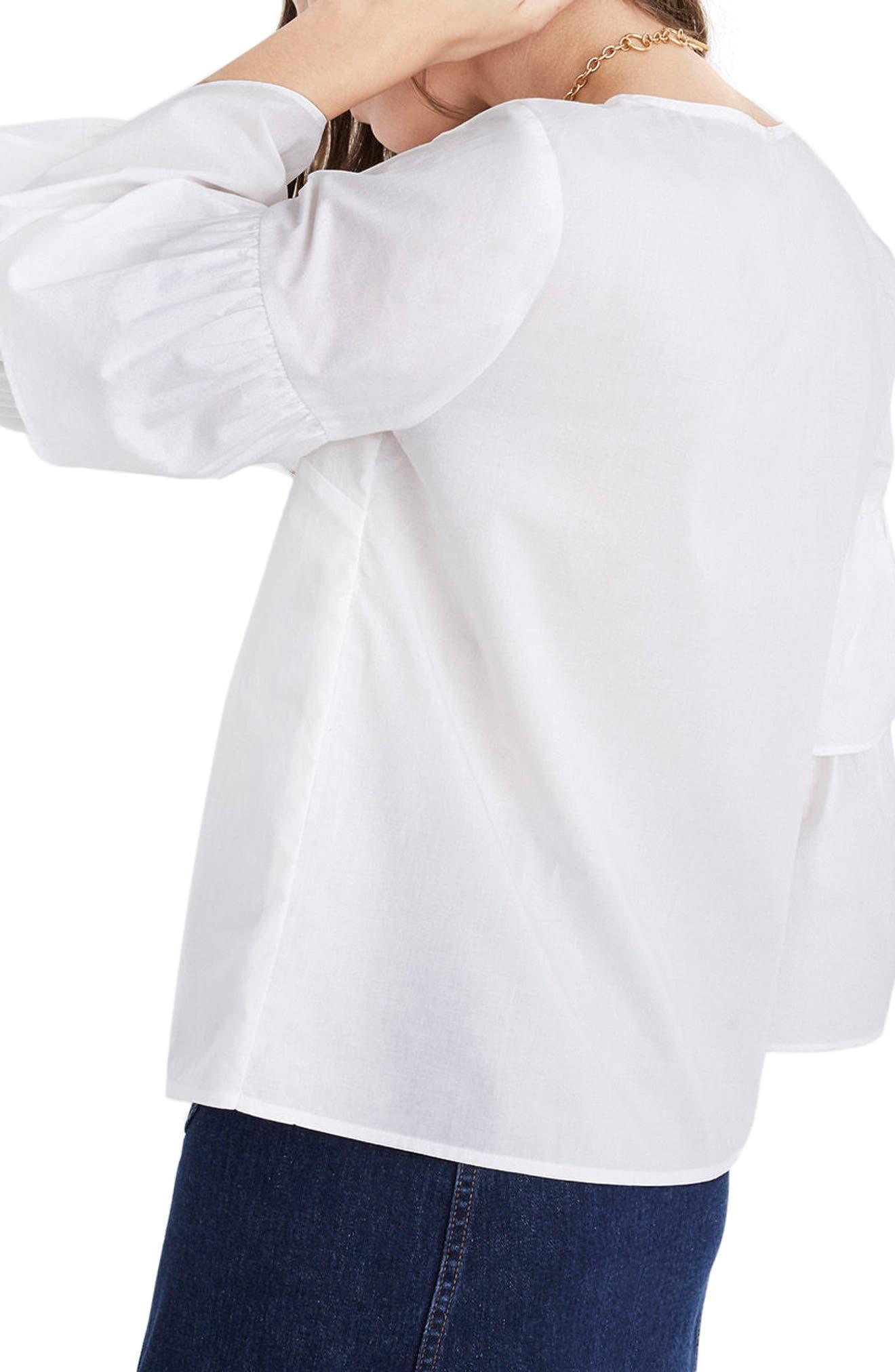 Tiered Sleeve Poplin Top,                             Alternate thumbnail 3, color,                             100