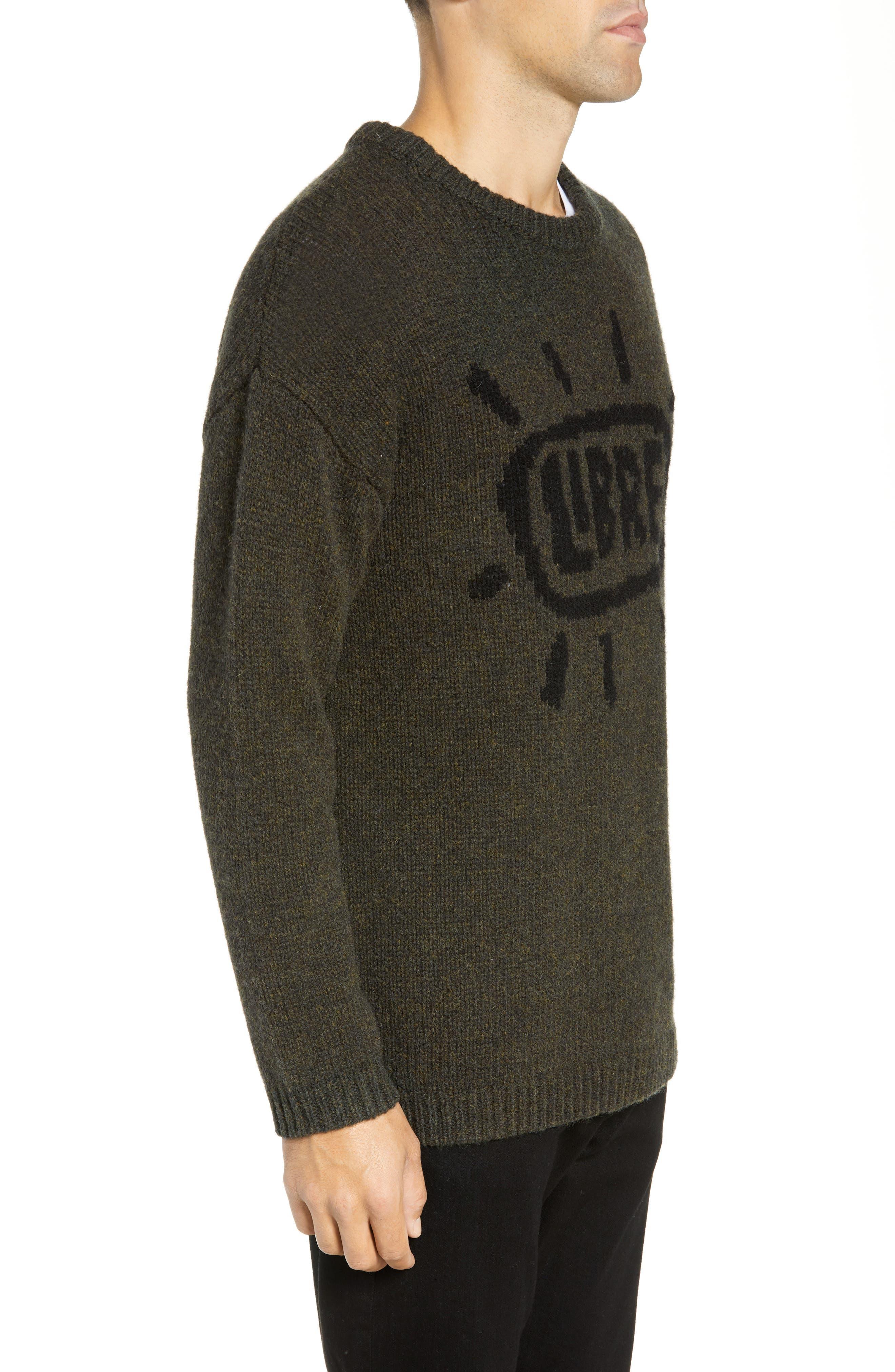 Free Regular Fit Shetland Wool Sweater,                             Alternate thumbnail 3, color,                             MIDNIGHT MOSS BLACK