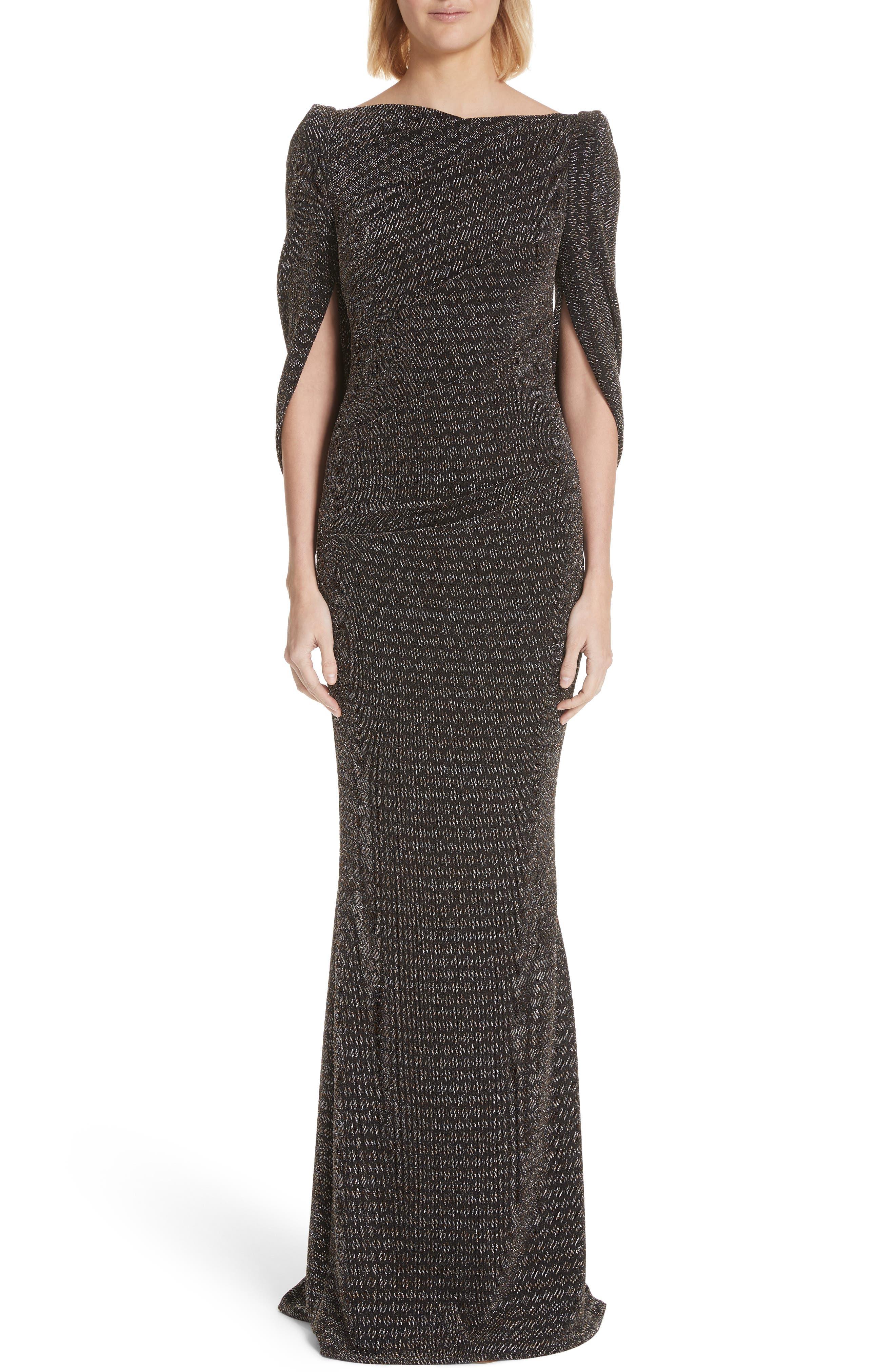 Talbot Runhof 5Th Element Metallic Jersey Mermaid Gown, Black