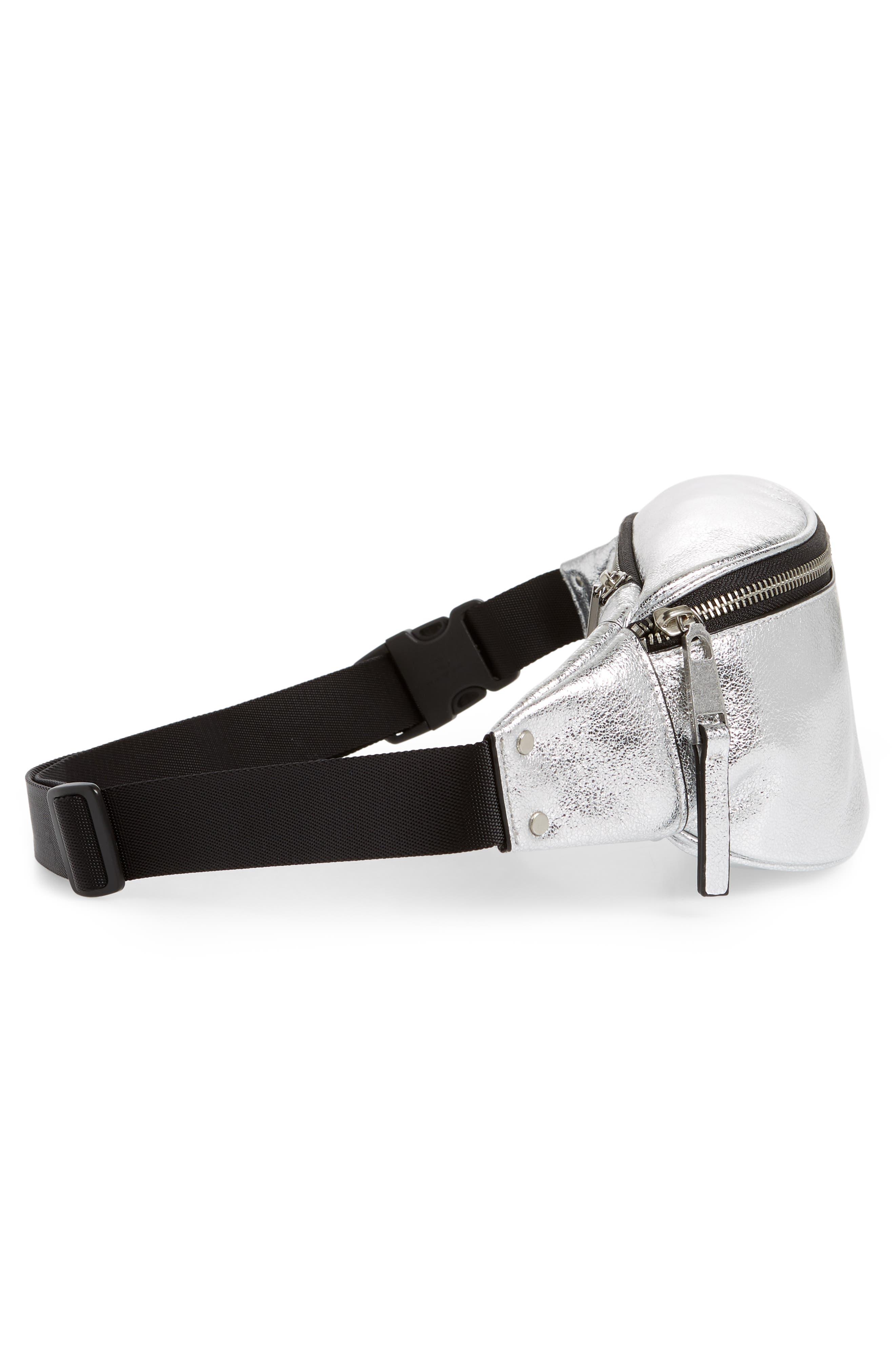 TREASURE & BOND,                             Mason Metallic Leather Belt Bag,                             Alternate thumbnail 6, color,                             SILVER