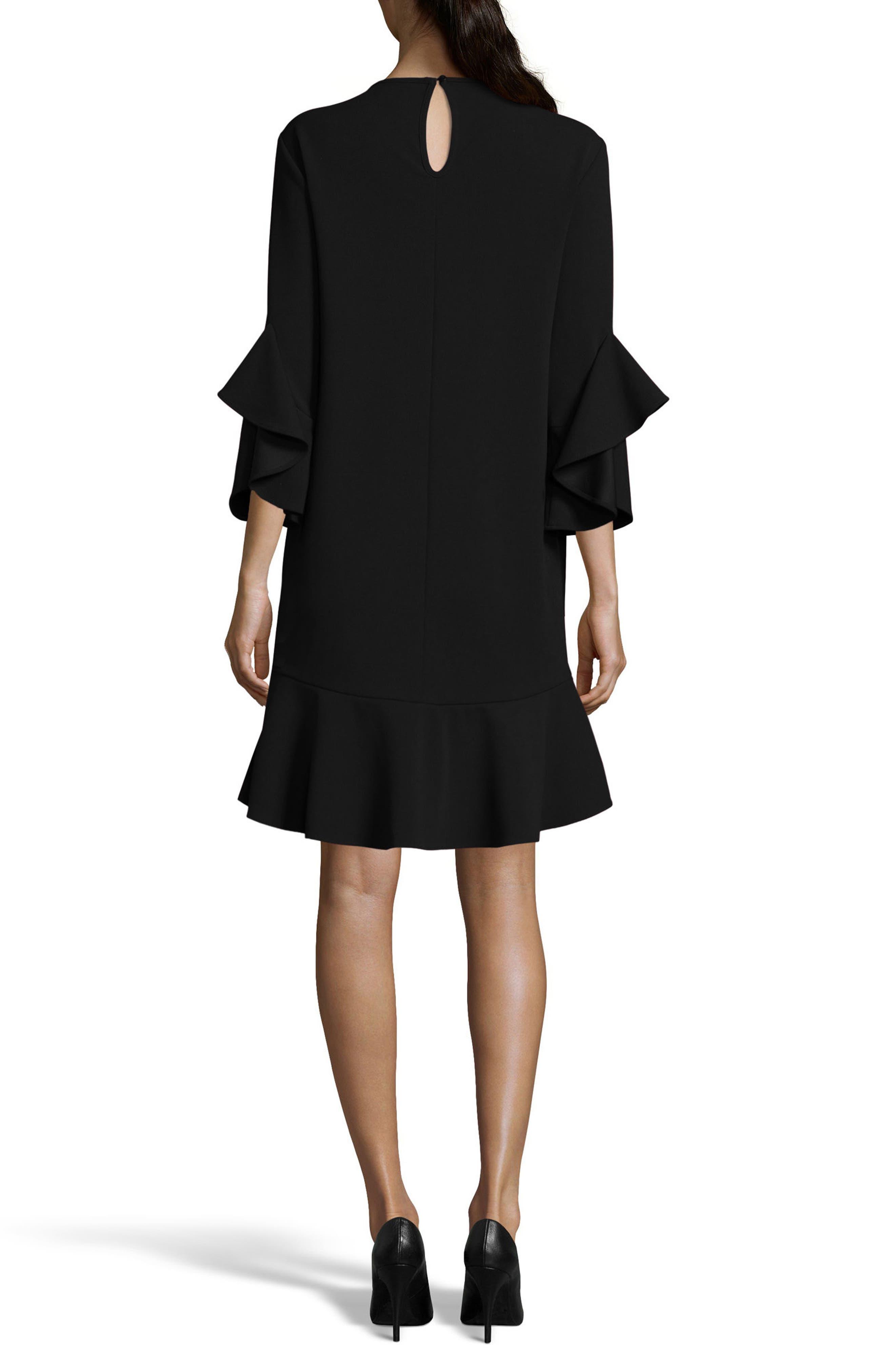 Ruffle Bell Sleeve Shift Dress,                             Alternate thumbnail 2, color,                             001