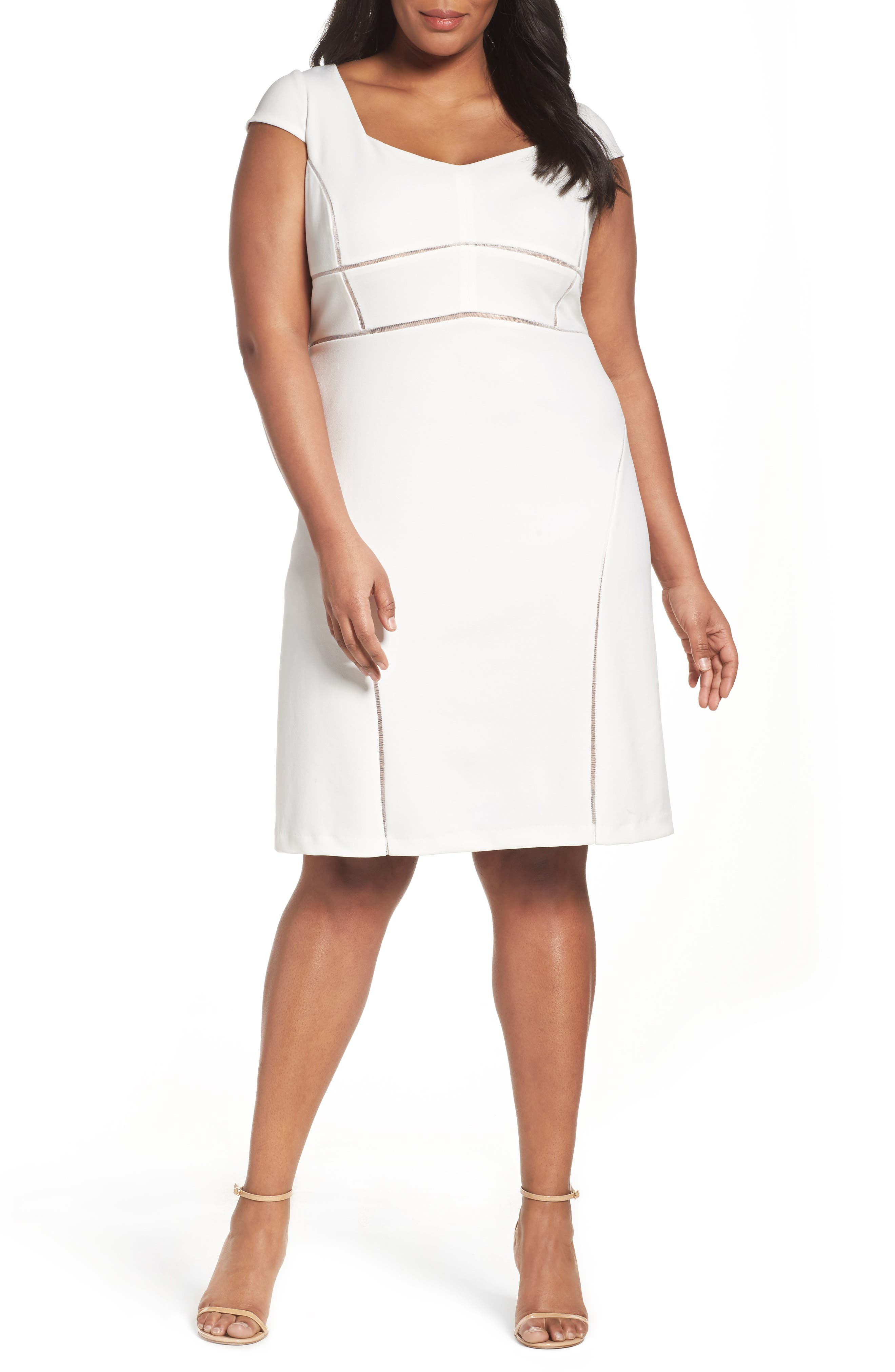 Stretch Crepe Sheath Dress,                         Main,                         color, 909