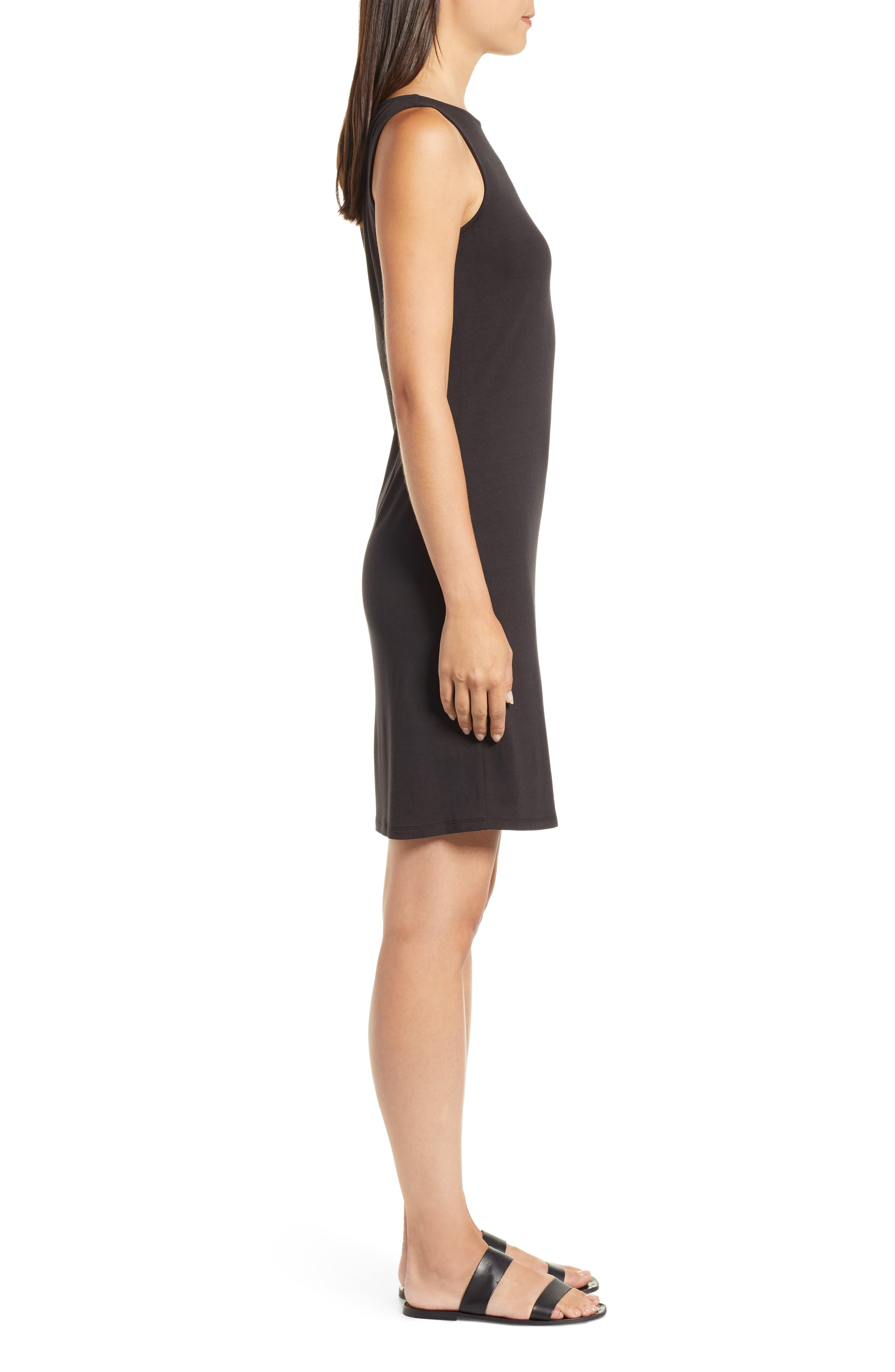 Tambour Shift Dress,                             Alternate thumbnail 3, color,                             BLACK