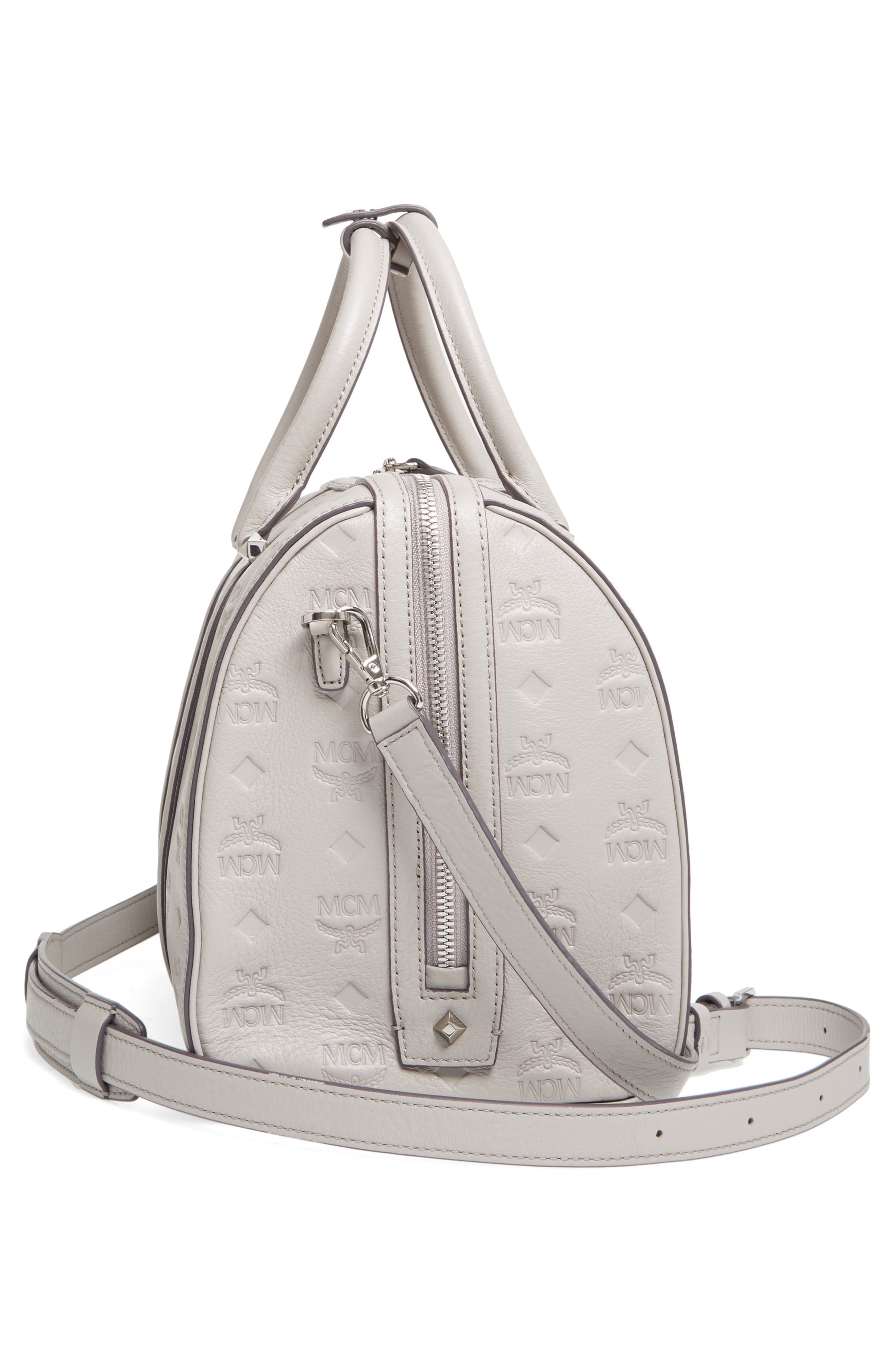Signature Monogram Embossed Leather Crossbody Bag,                             Alternate thumbnail 5, color,                             DOVE