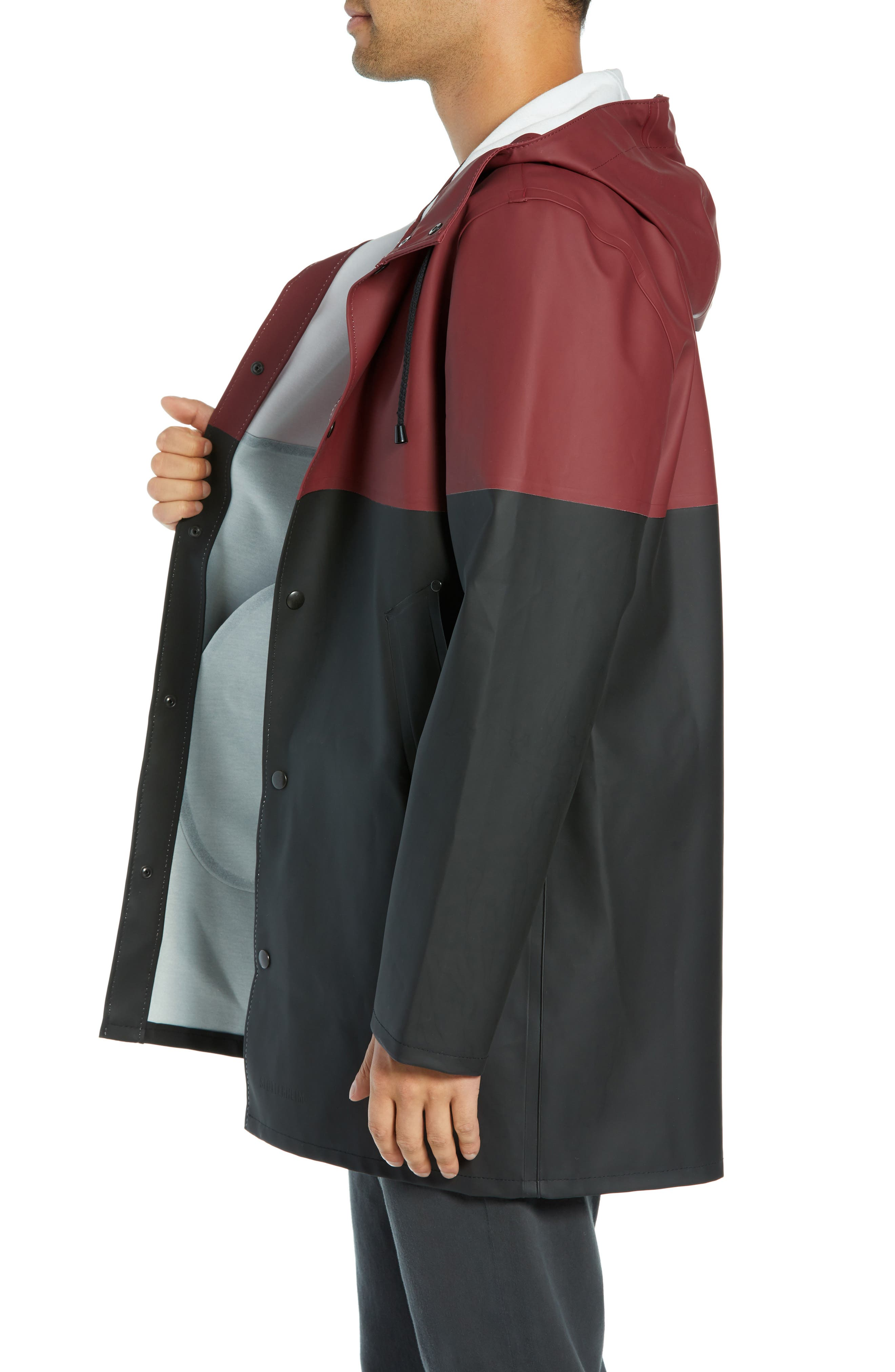 Stockholm Colorblock Waterproof Hooded Raincoat,                             Alternate thumbnail 3, color,                             BURGUNDY/ BLACK