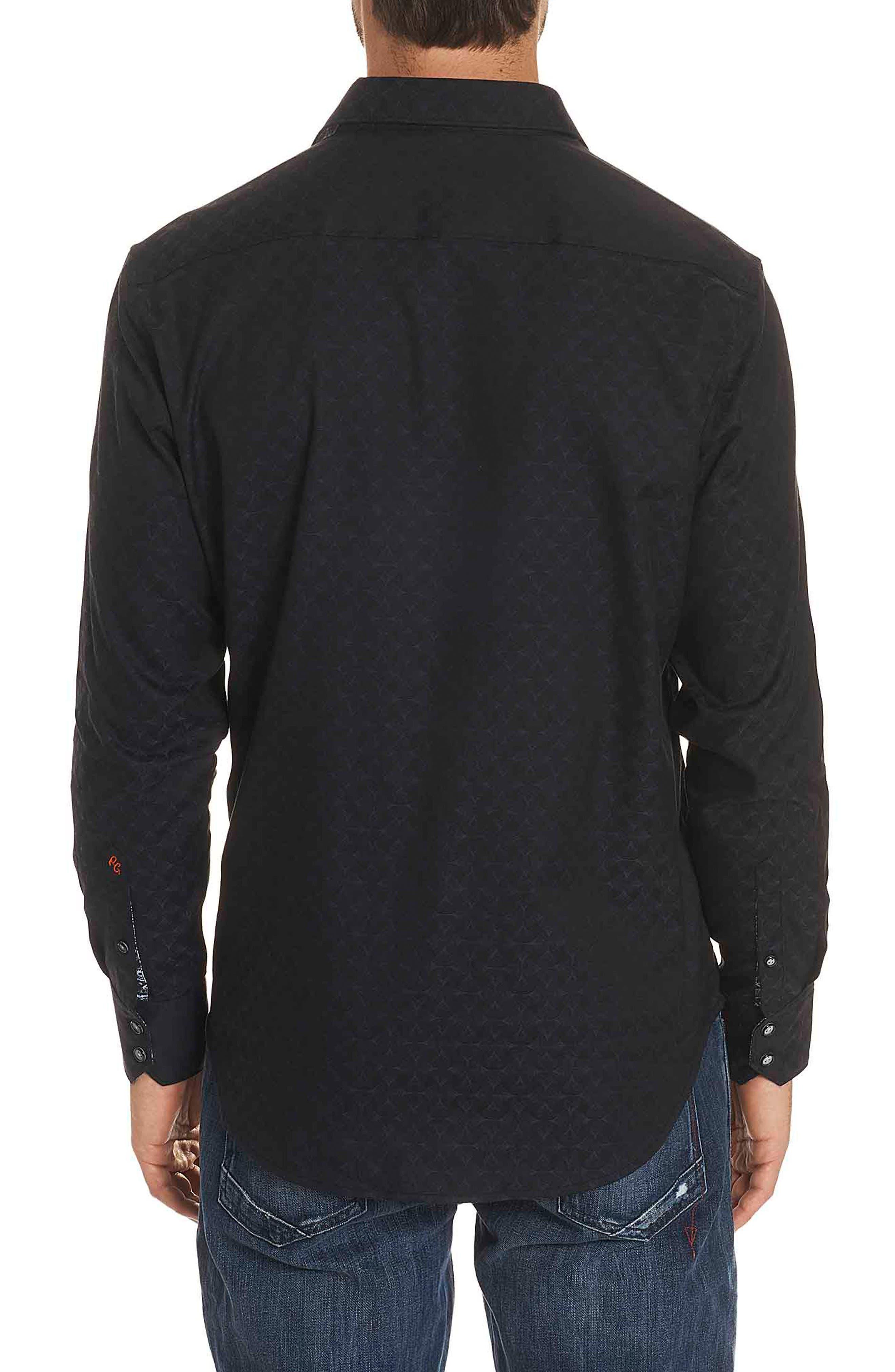 Diamante Classic Fit Print Sport Shirt,                             Alternate thumbnail 2, color,                             BLACK