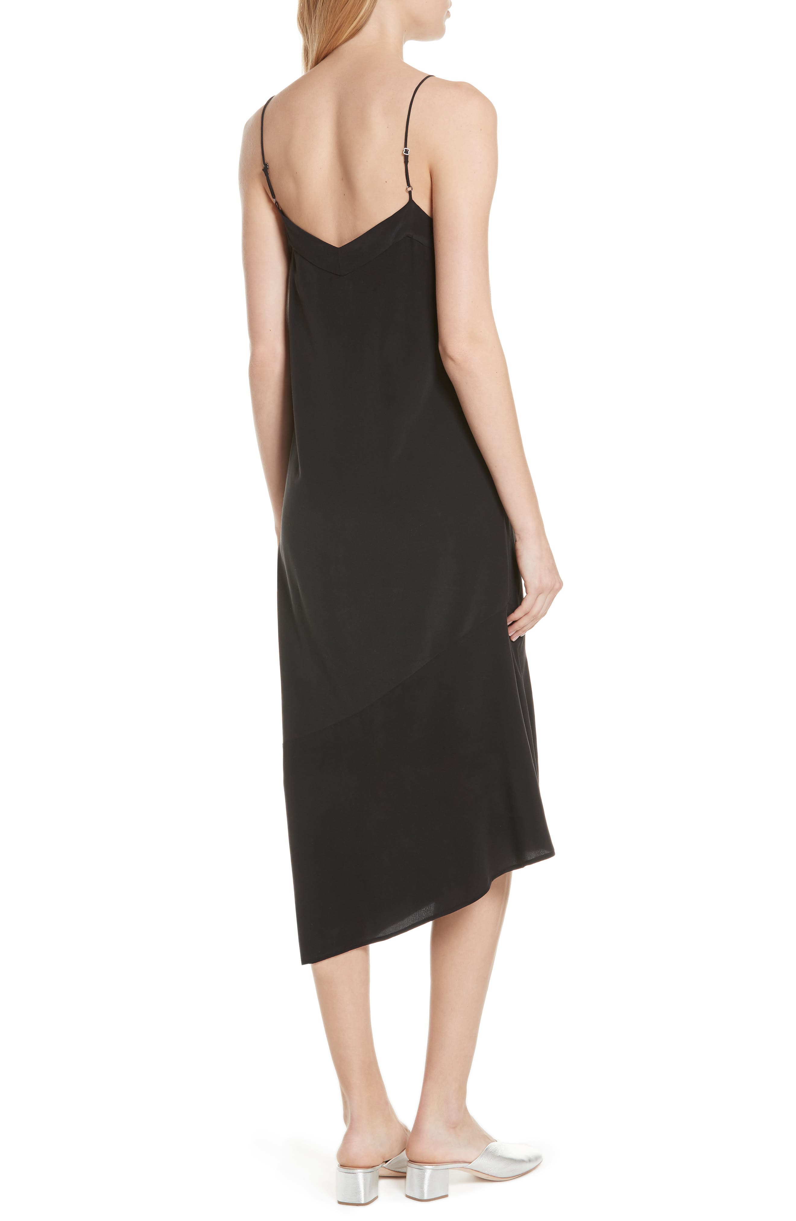 Jada Asymmetrical Silk Slip Dress,                             Alternate thumbnail 2, color,                             003
