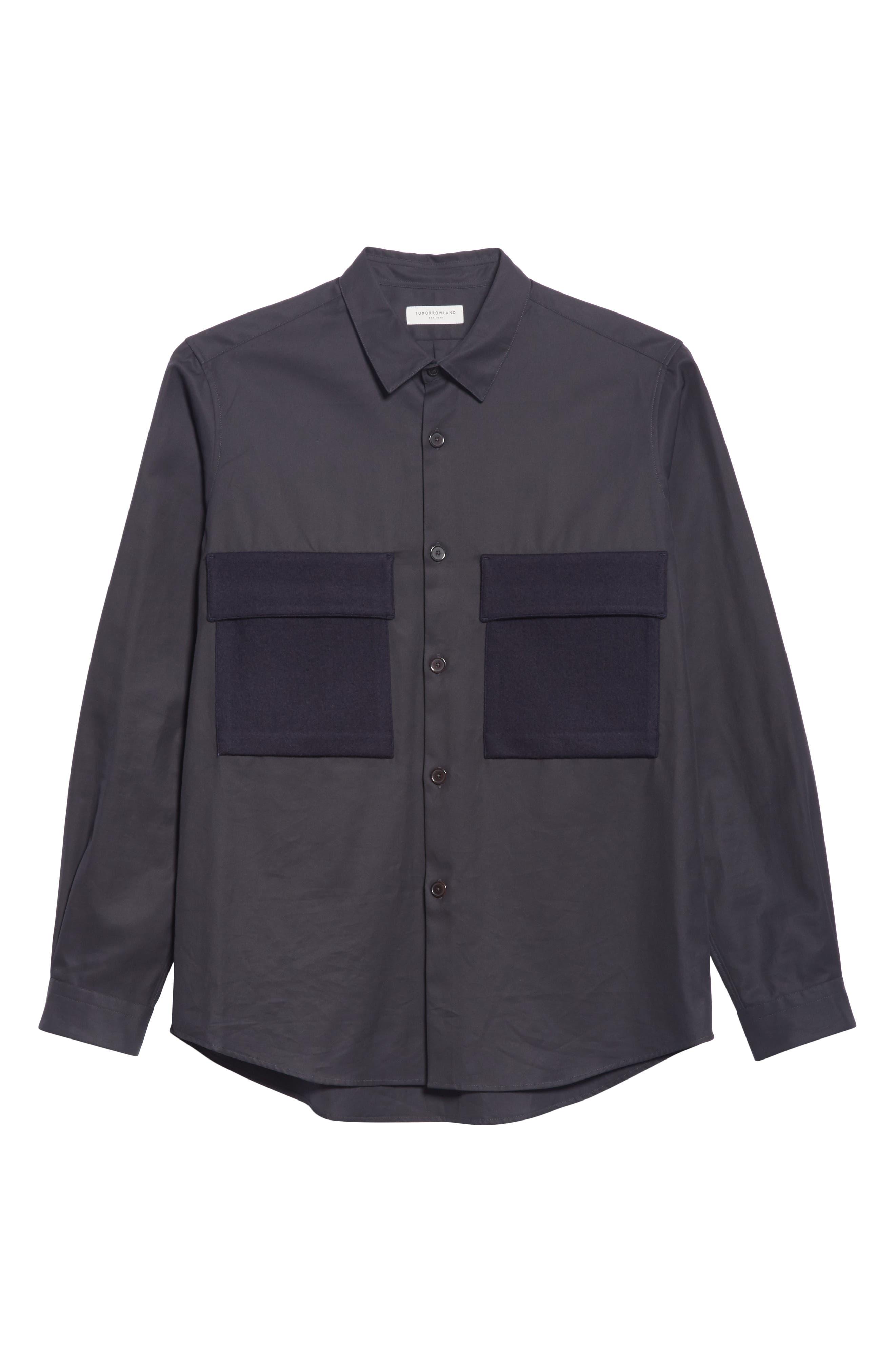 Gabardine Woven Shirt,                             Alternate thumbnail 6, color,                             NAVY