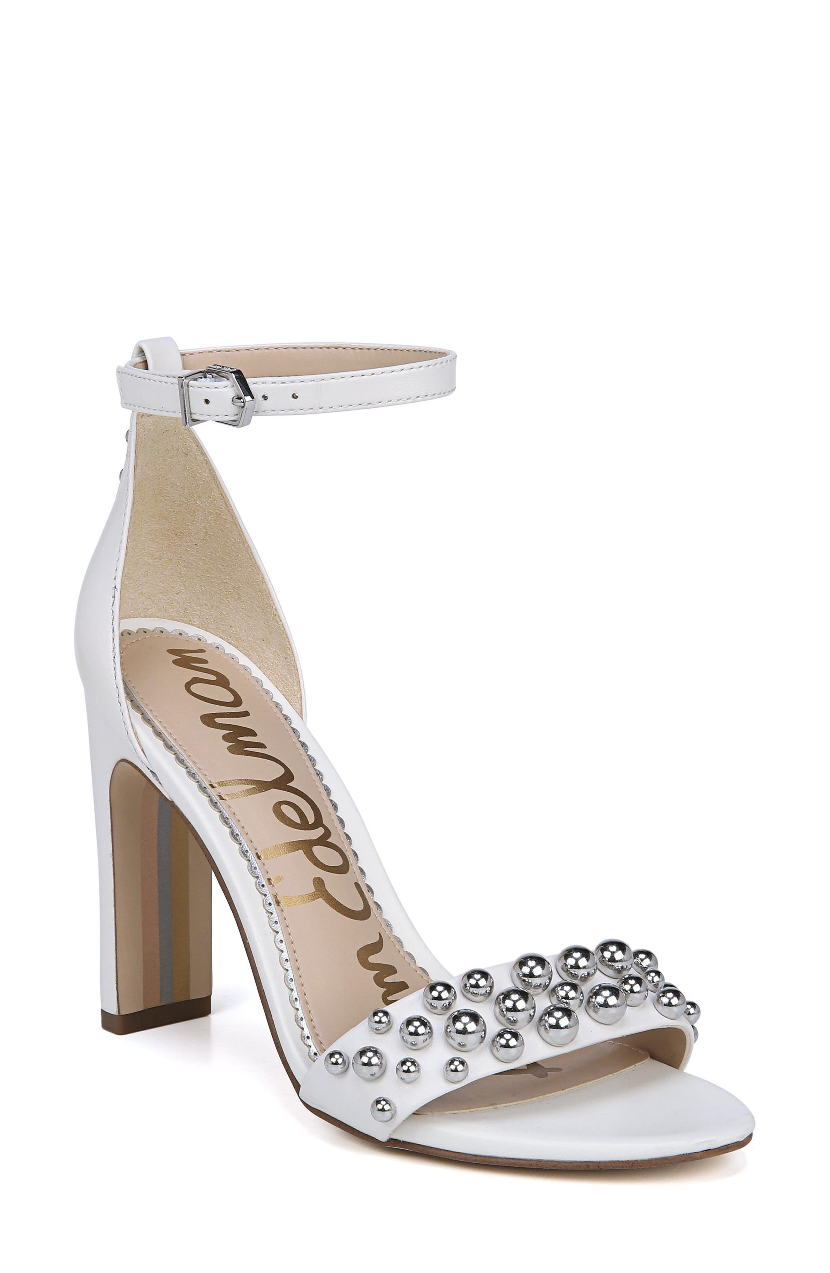 Yoshi Studded Ankle Strap Sandal,                         Main,                         color, BRIGHT WHITE LEATHER