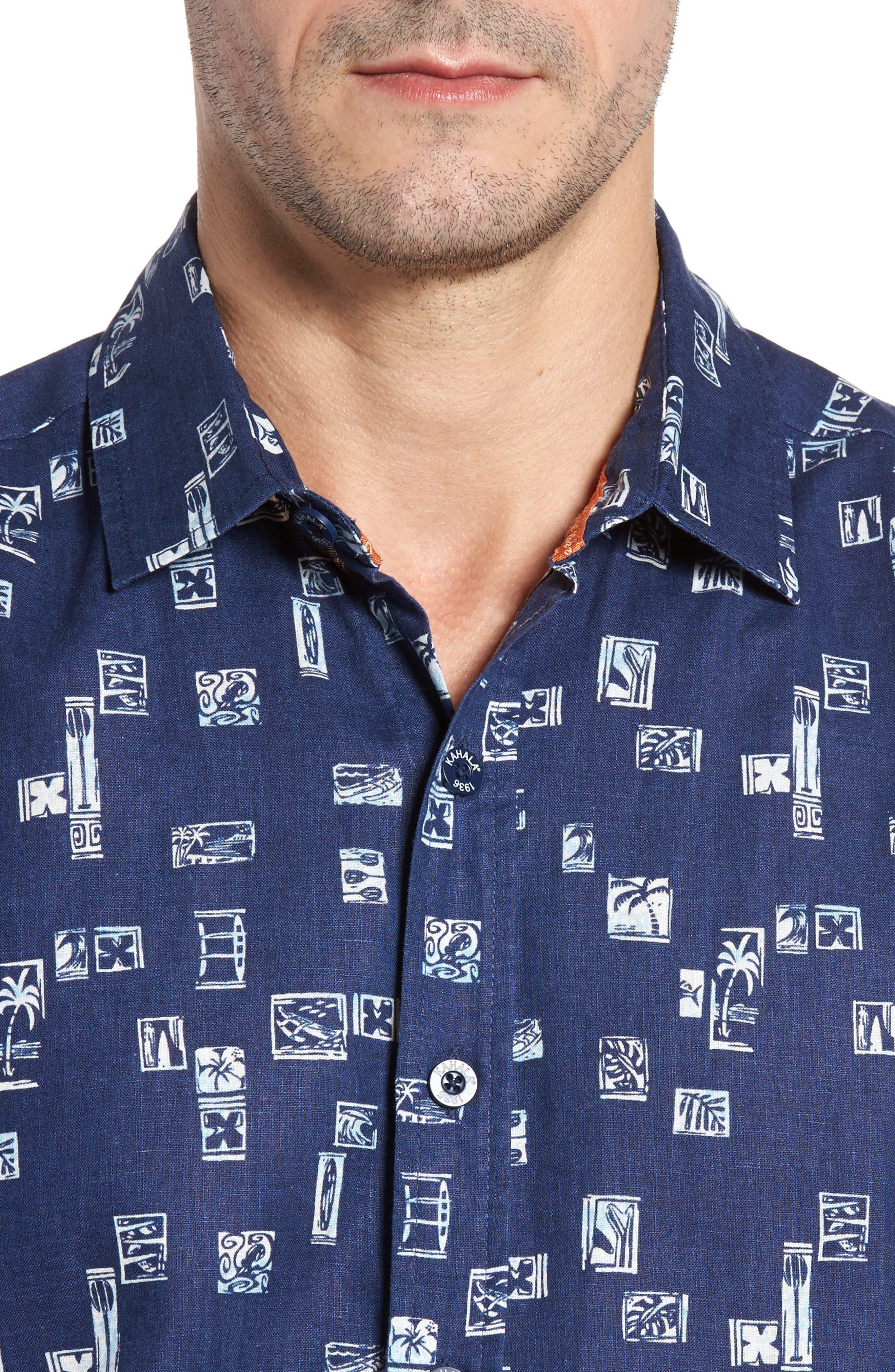 Beach Party Trim Fit Print Sport Shirt,                             Alternate thumbnail 4, color,                             415