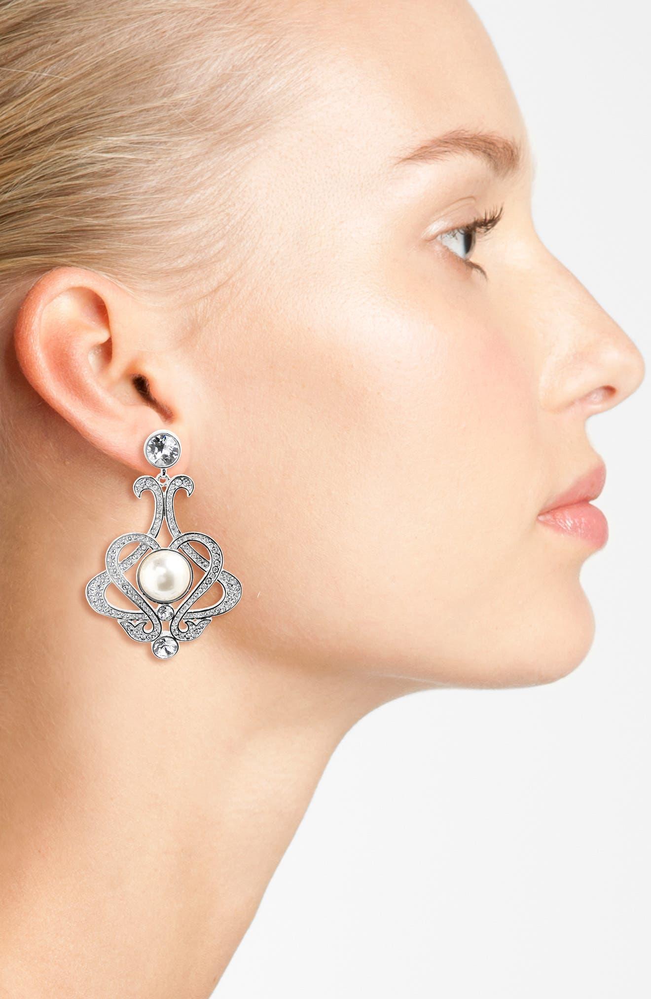 NINA,                             Swarovski Crystal & Imitation Pearl Chandelier Earrings,                             Alternate thumbnail 2, color,                             043