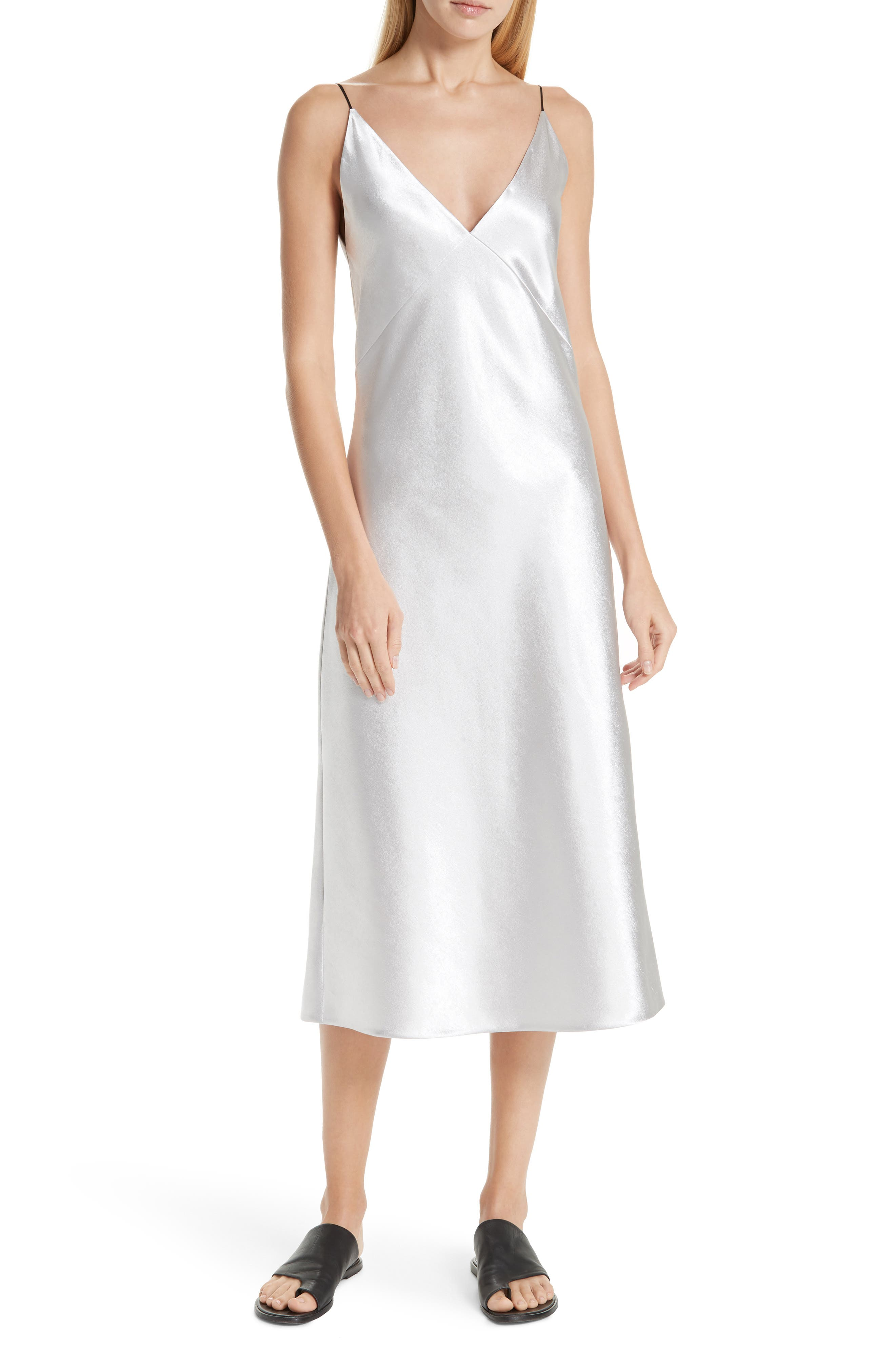 Vintage Inspired Slips Womens Vince V-Neck Bias Cut Dress Size Large - Metallic $176.98 AT vintagedancer.com