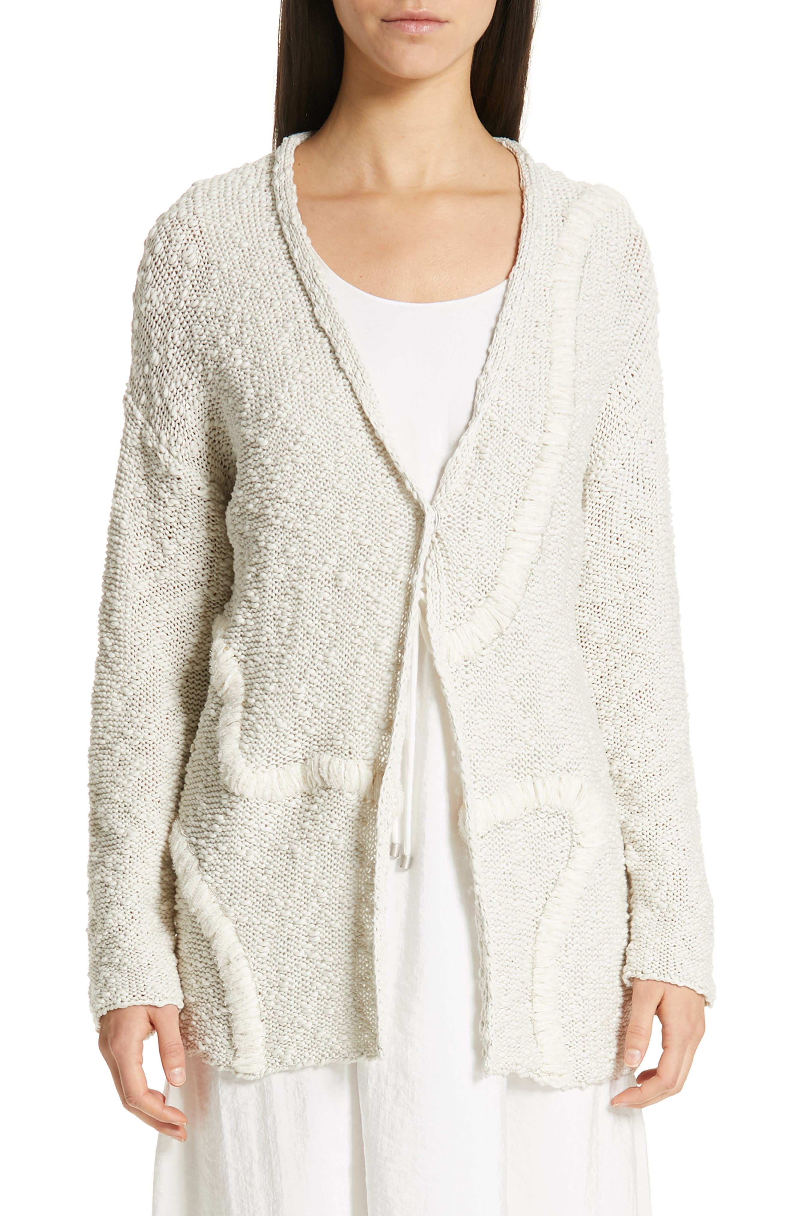 Embroidered Long Cardigan, Main, color, BEIGE