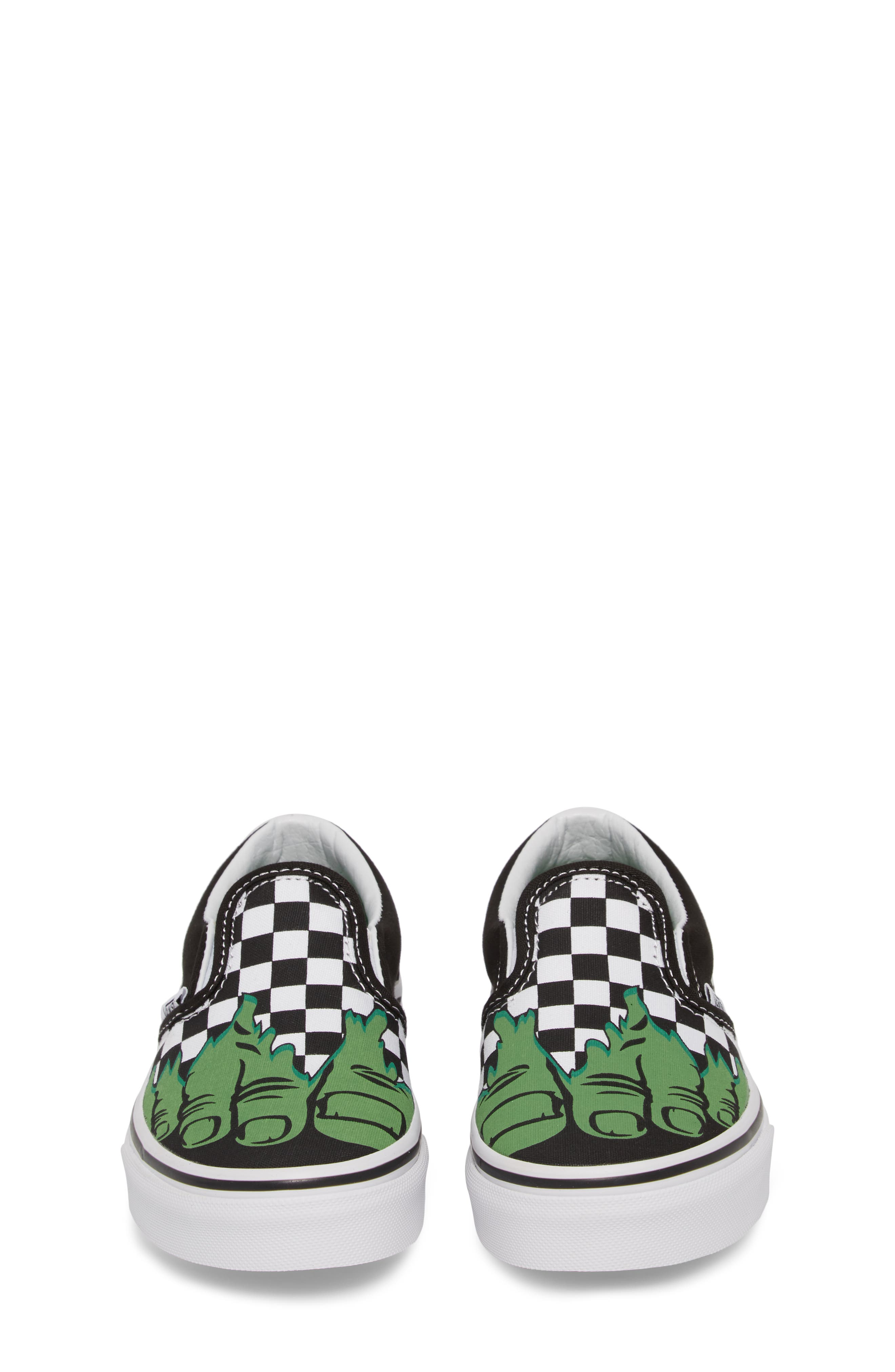 x Marvel<sup>®</sup> Hulk Checkerboard Slip-On Sneaker,                             Alternate thumbnail 5, color,