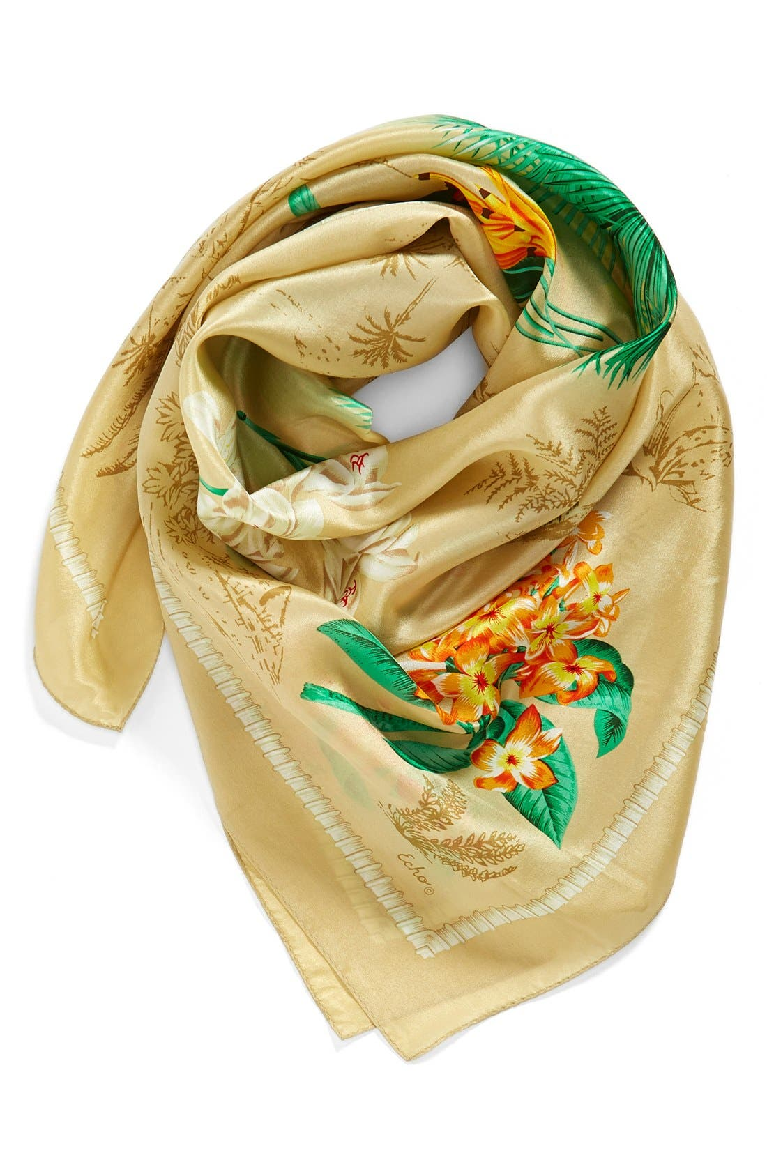 'Vintage Lily' Print Silk Square Scarf, Main, color, 254