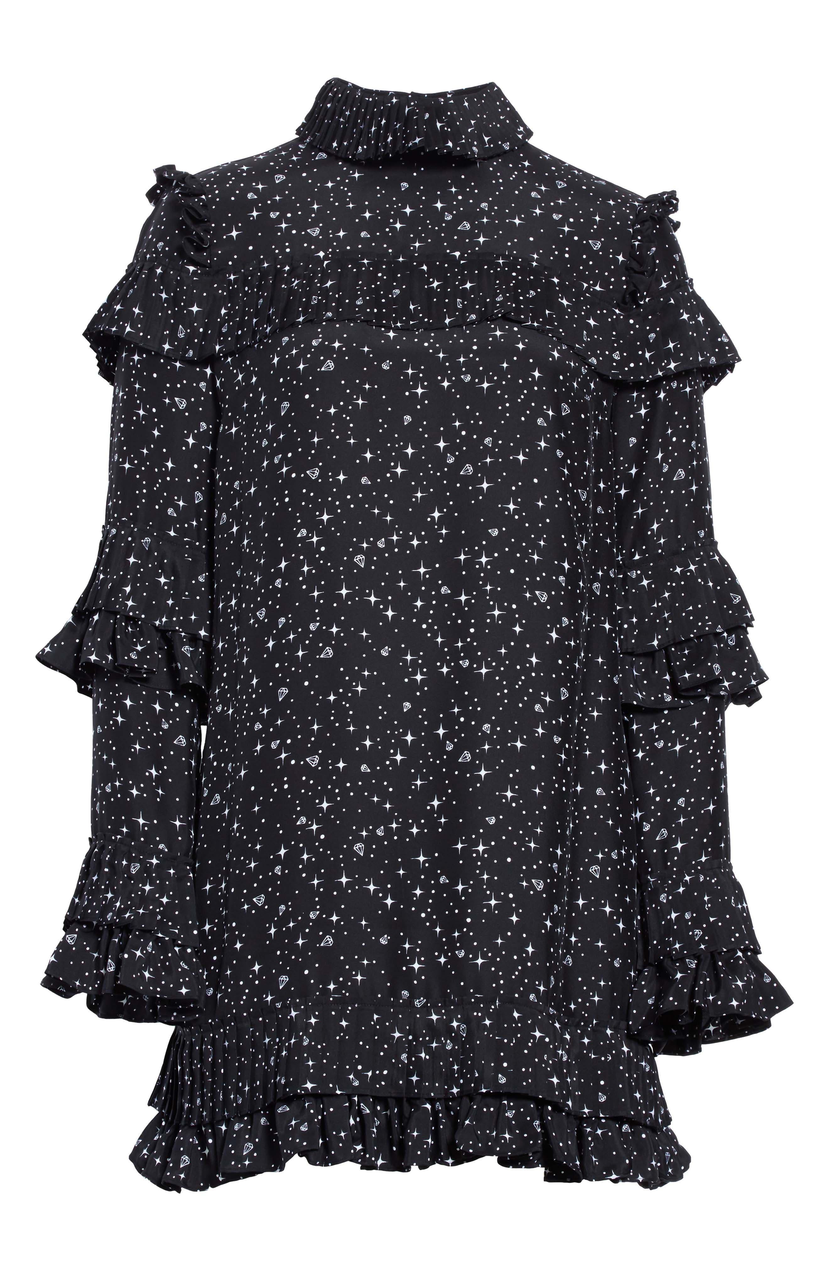 Ruffle Silk Dress,                             Alternate thumbnail 6, color,                             006