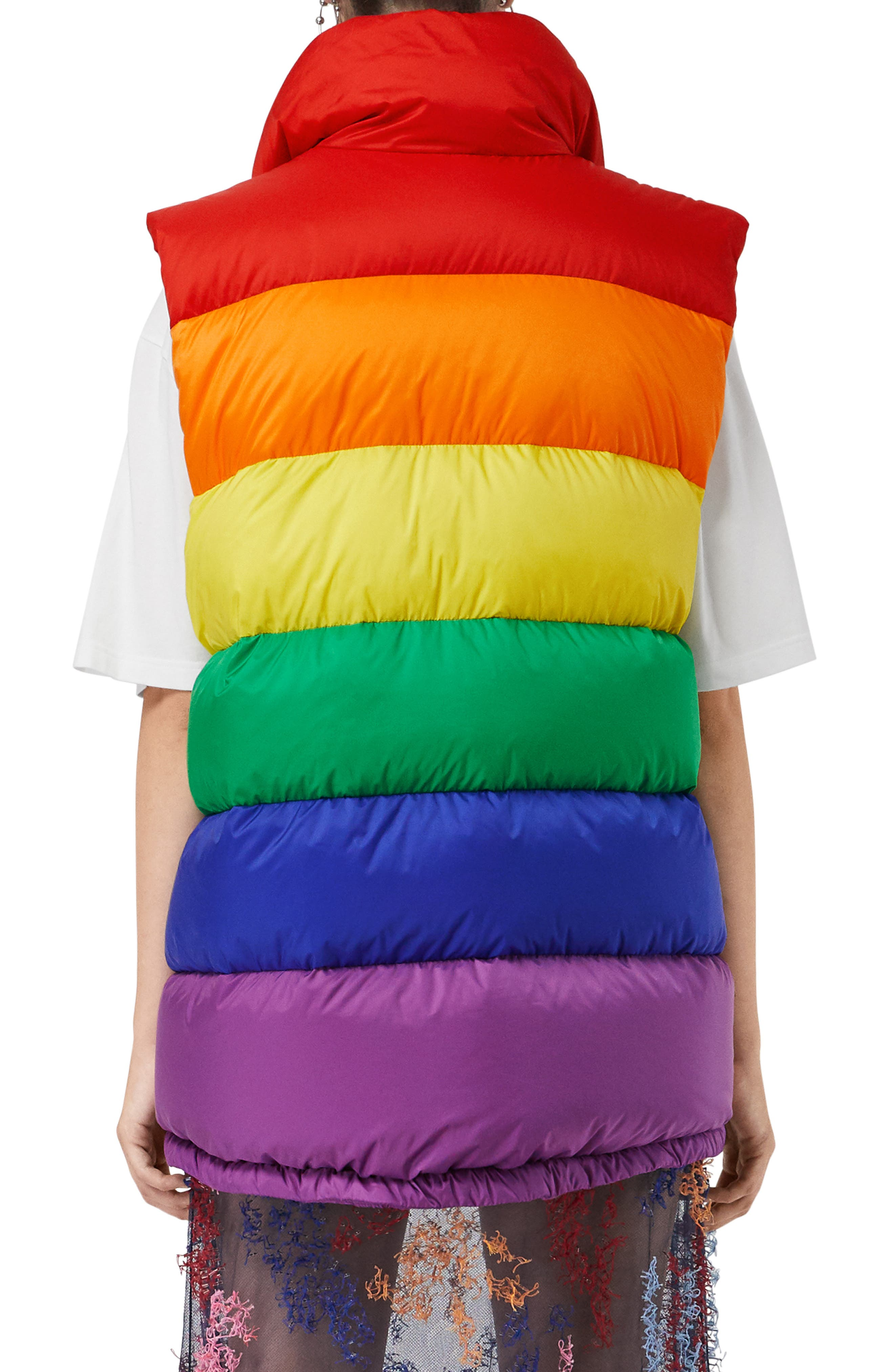 Rainbow Down Puffer Vest,                             Alternate thumbnail 2, color,                             RAINBOW
