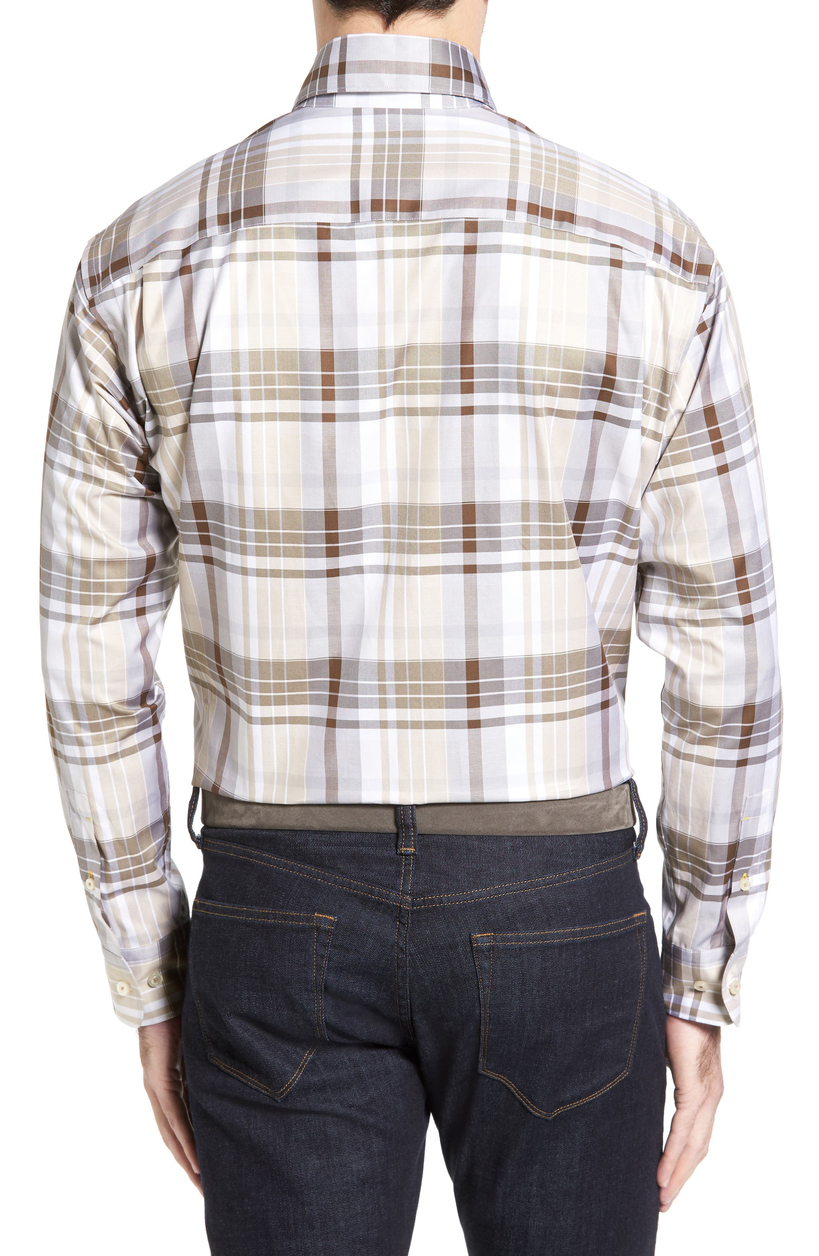 Anderson Classic Fit Plaid Micro Twill Sport Shirt,                             Alternate thumbnail 2, color,