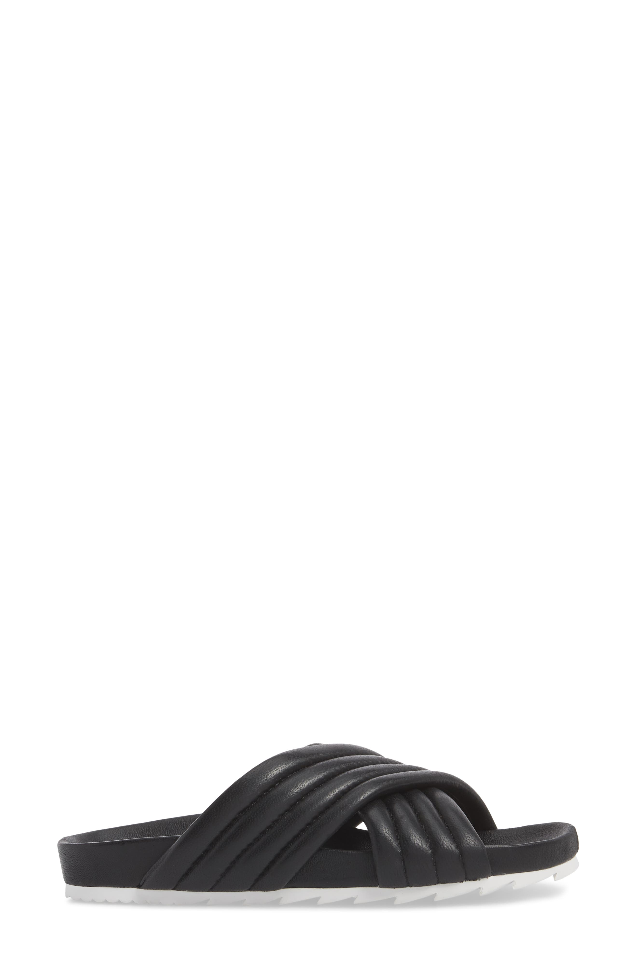 Easy Slide Sandal,                             Alternate thumbnail 3, color,                             BLACK LEATHER
