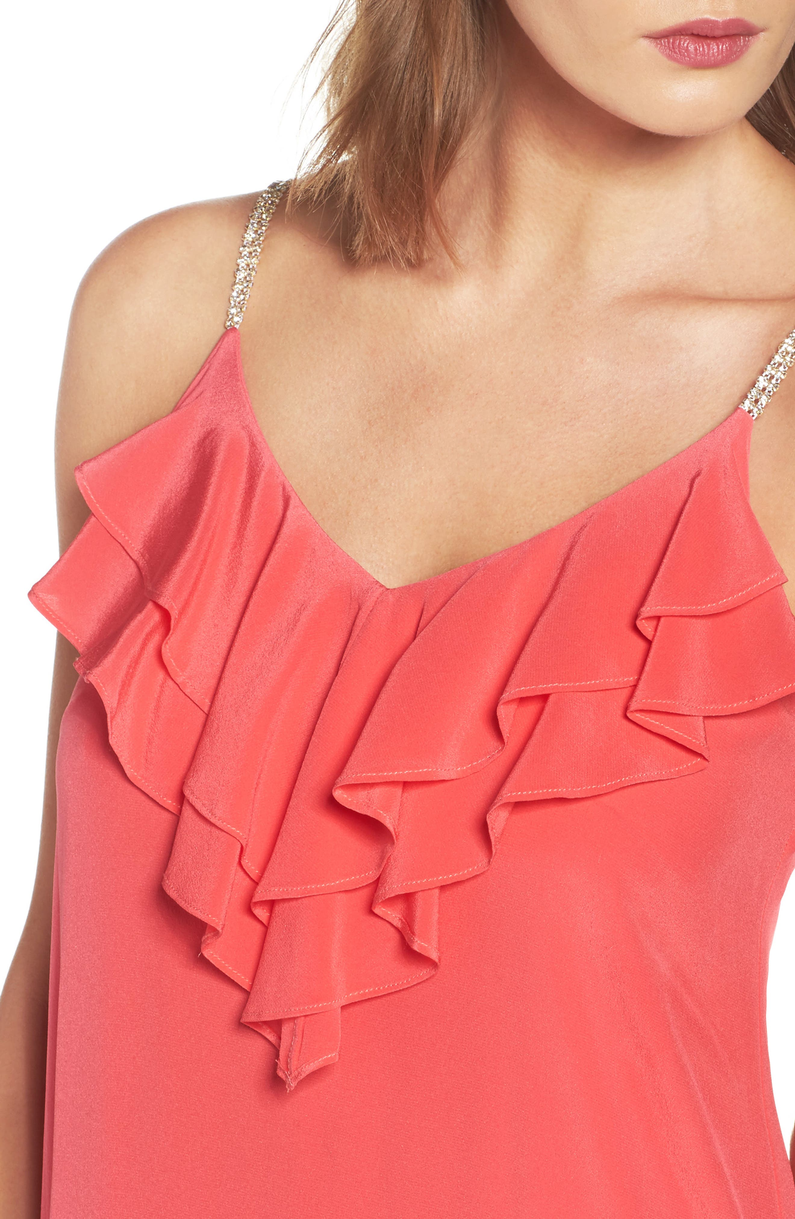 Ruffle Silk Maxi Dress,                             Alternate thumbnail 4, color,                             620