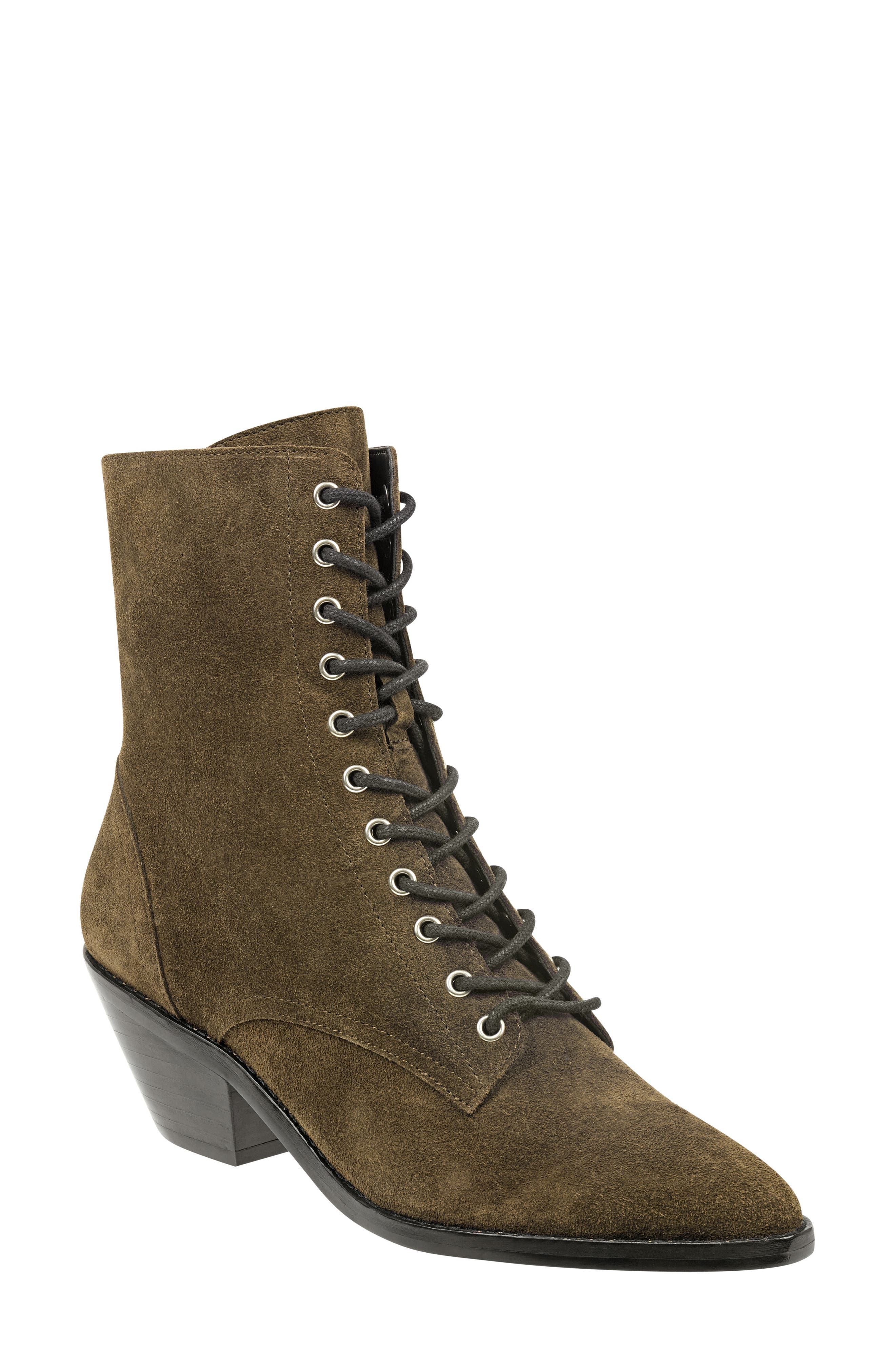 Bowie Lace-Up Boot,                             Main thumbnail 1, color,                             OLIVE SUEDE