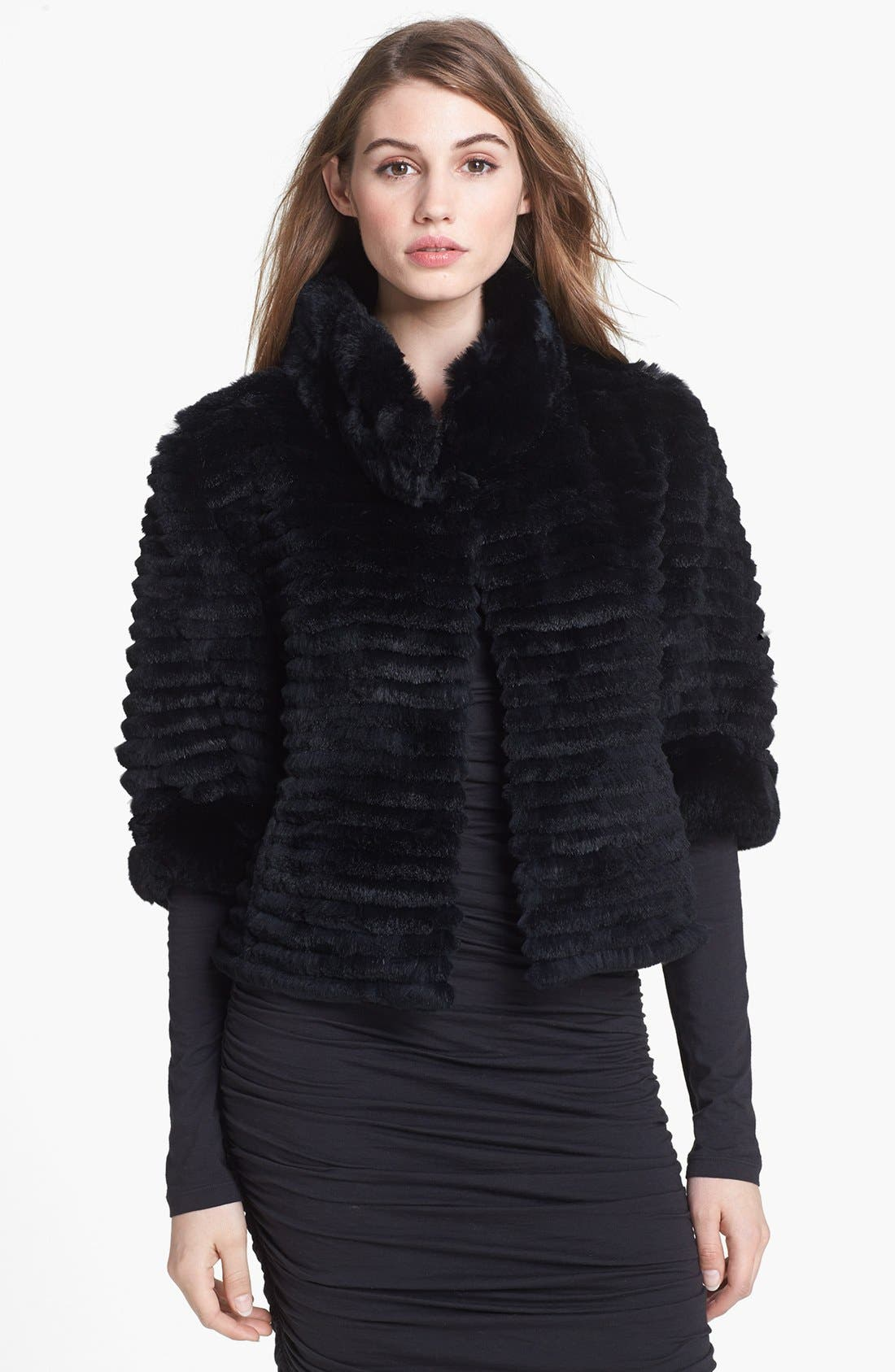 Genuine Rabbit Fur Crop Jacket,                         Main,                         color, 001