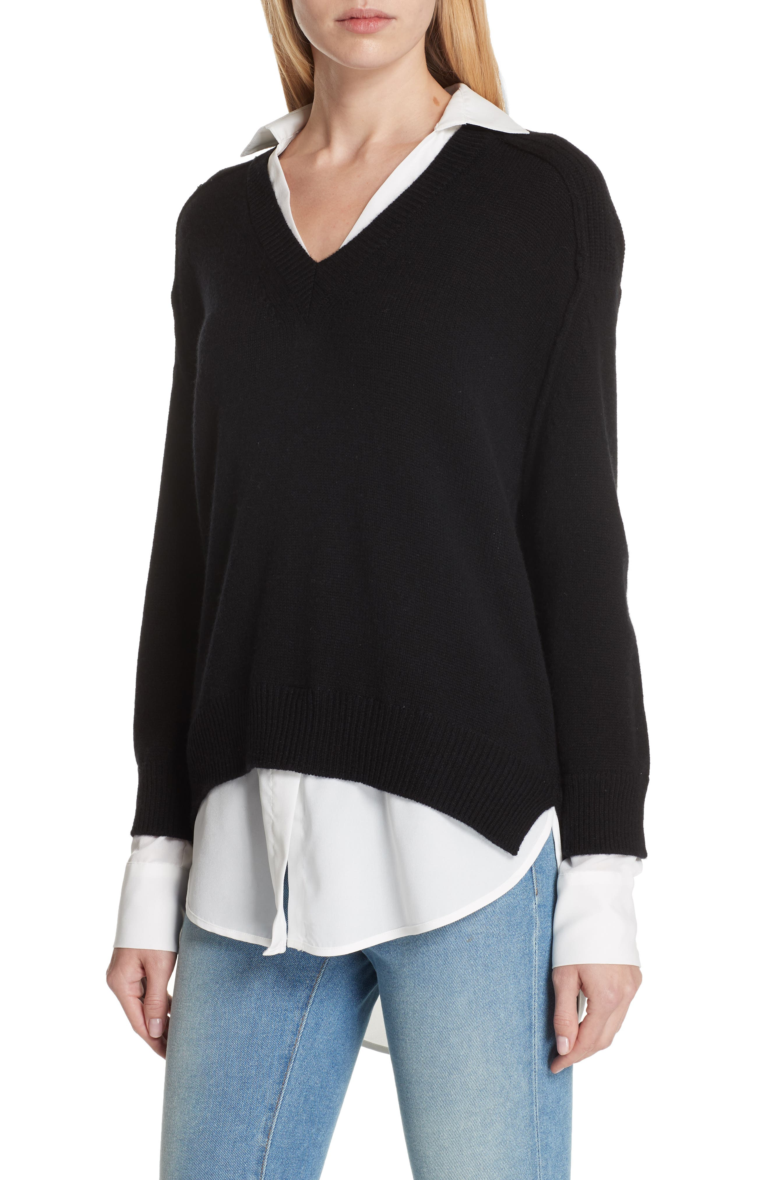 V-Neck Layered Pullover,                             Alternate thumbnail 4, color,                             BLACK ONYX
