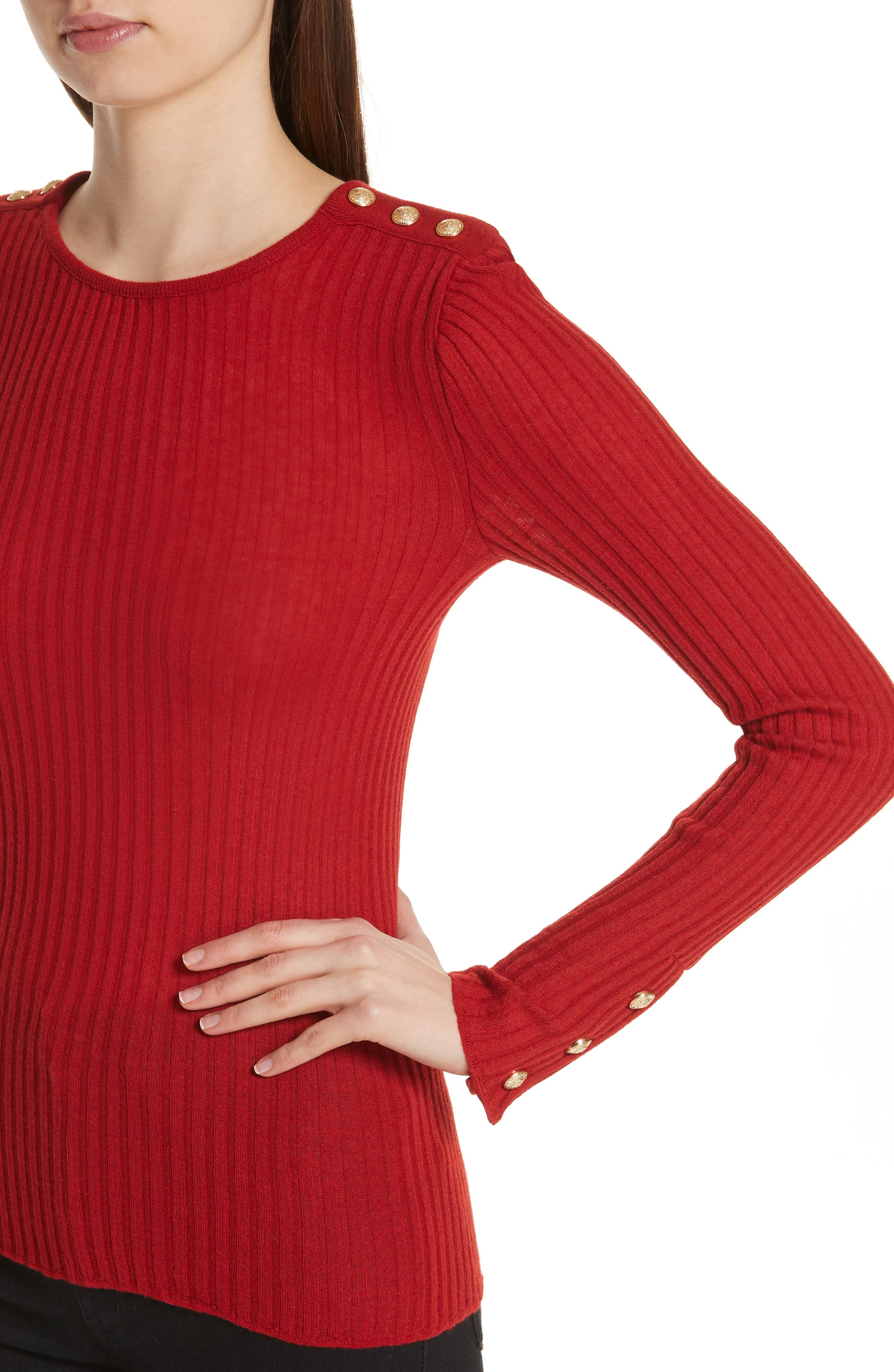 Button Detail Ribbed Sweater,                             Alternate thumbnail 4, color,                             ROUGE