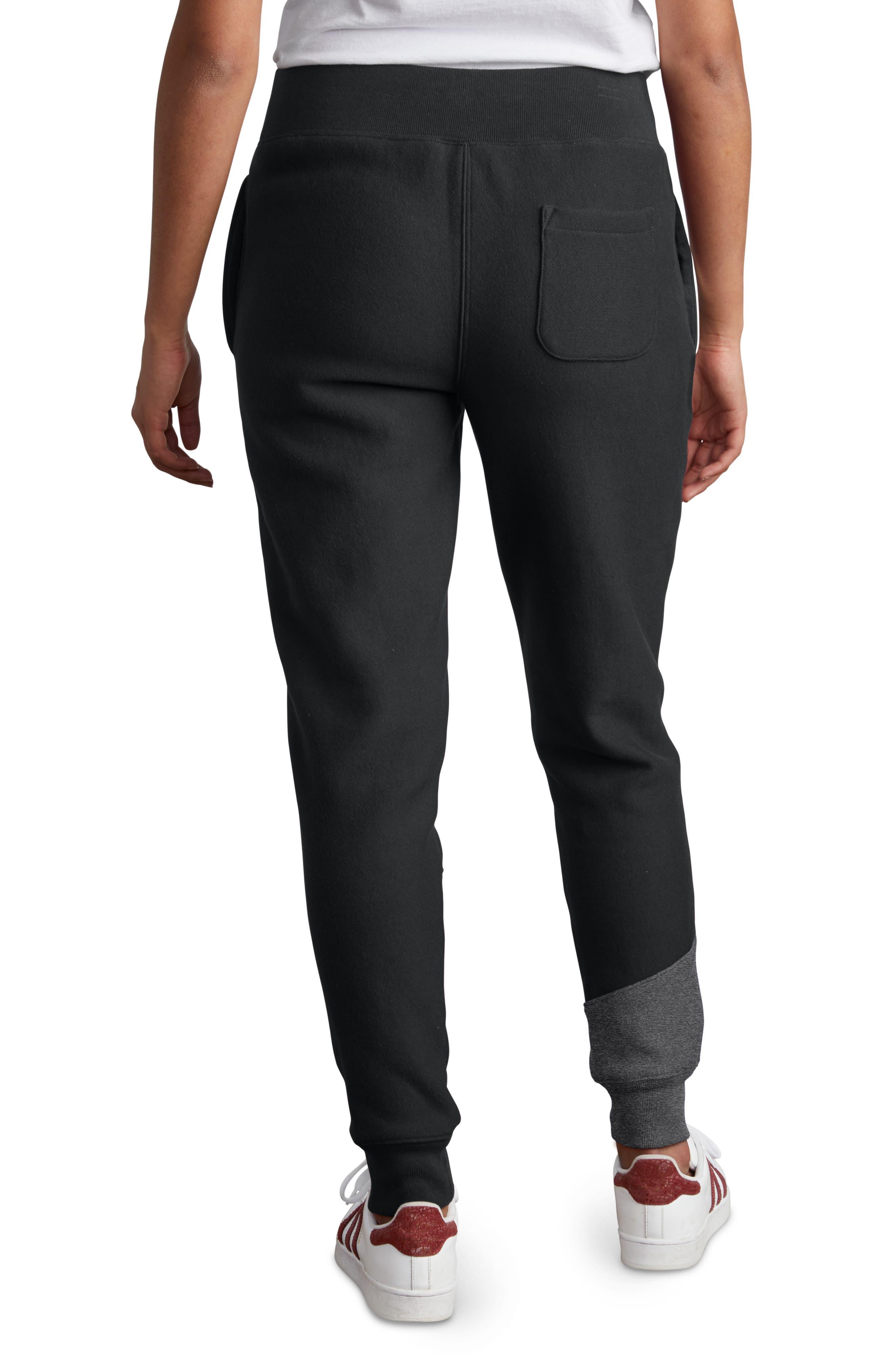 Color Block Jogger Pants,                             Alternate thumbnail 3, color,                             BLACK/ GRANITE HEATHER