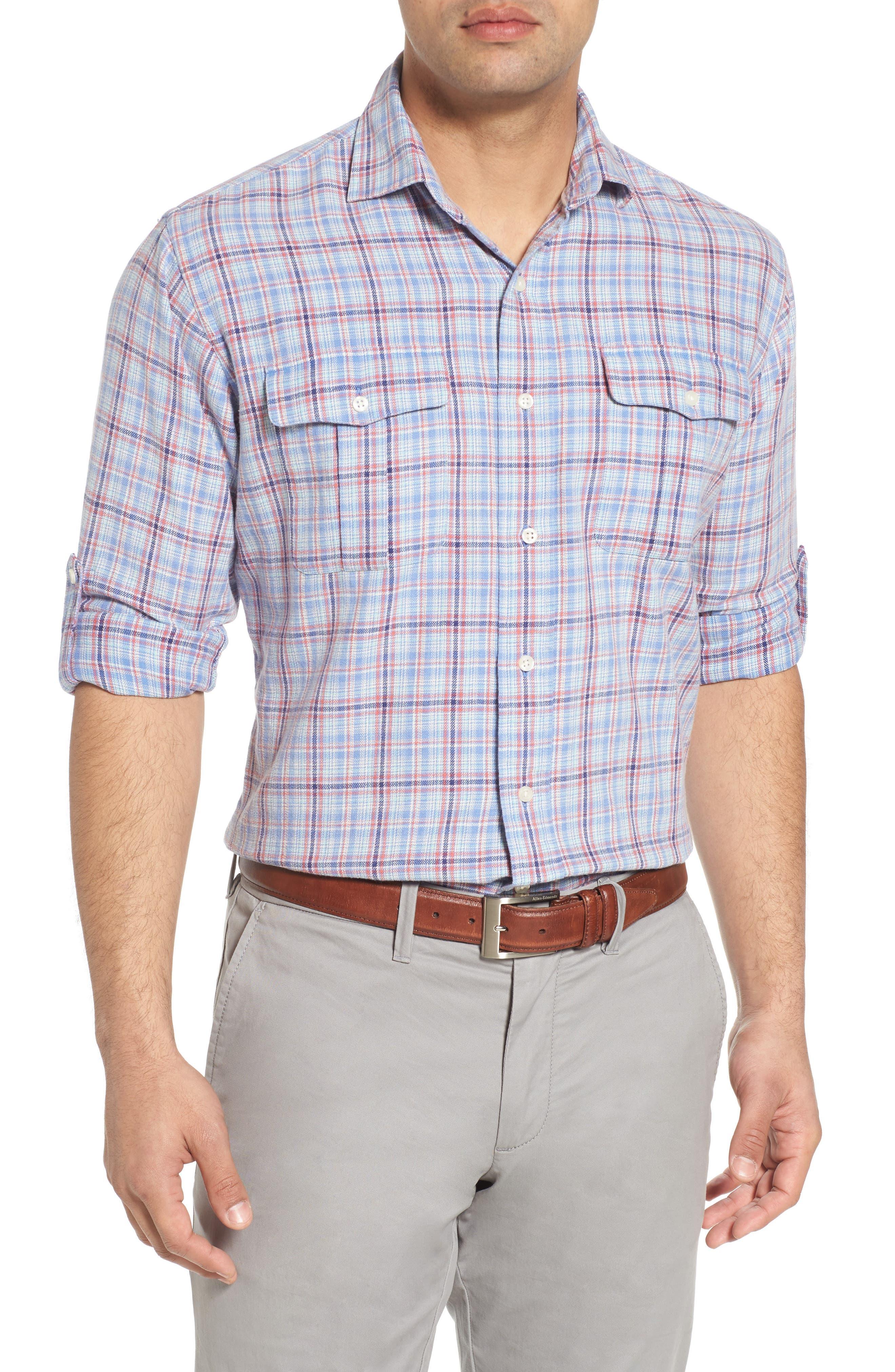 Emerald Isle Regular Fit Plaid Sport Shirt,                         Main,                         color,